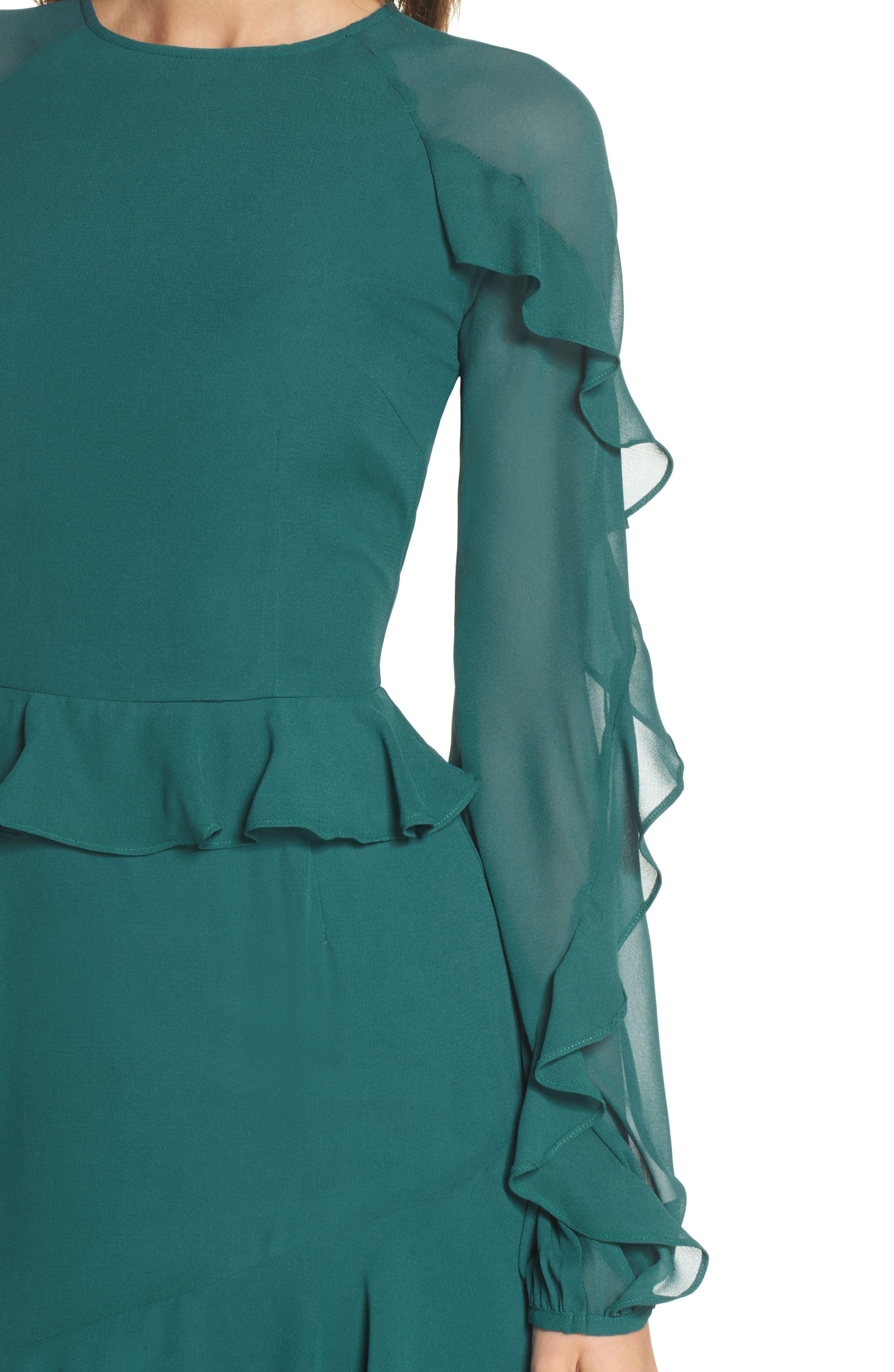 Dawn Drift Ruffle Midi Dress,                             Alternate thumbnail 4, color,                             North Sea