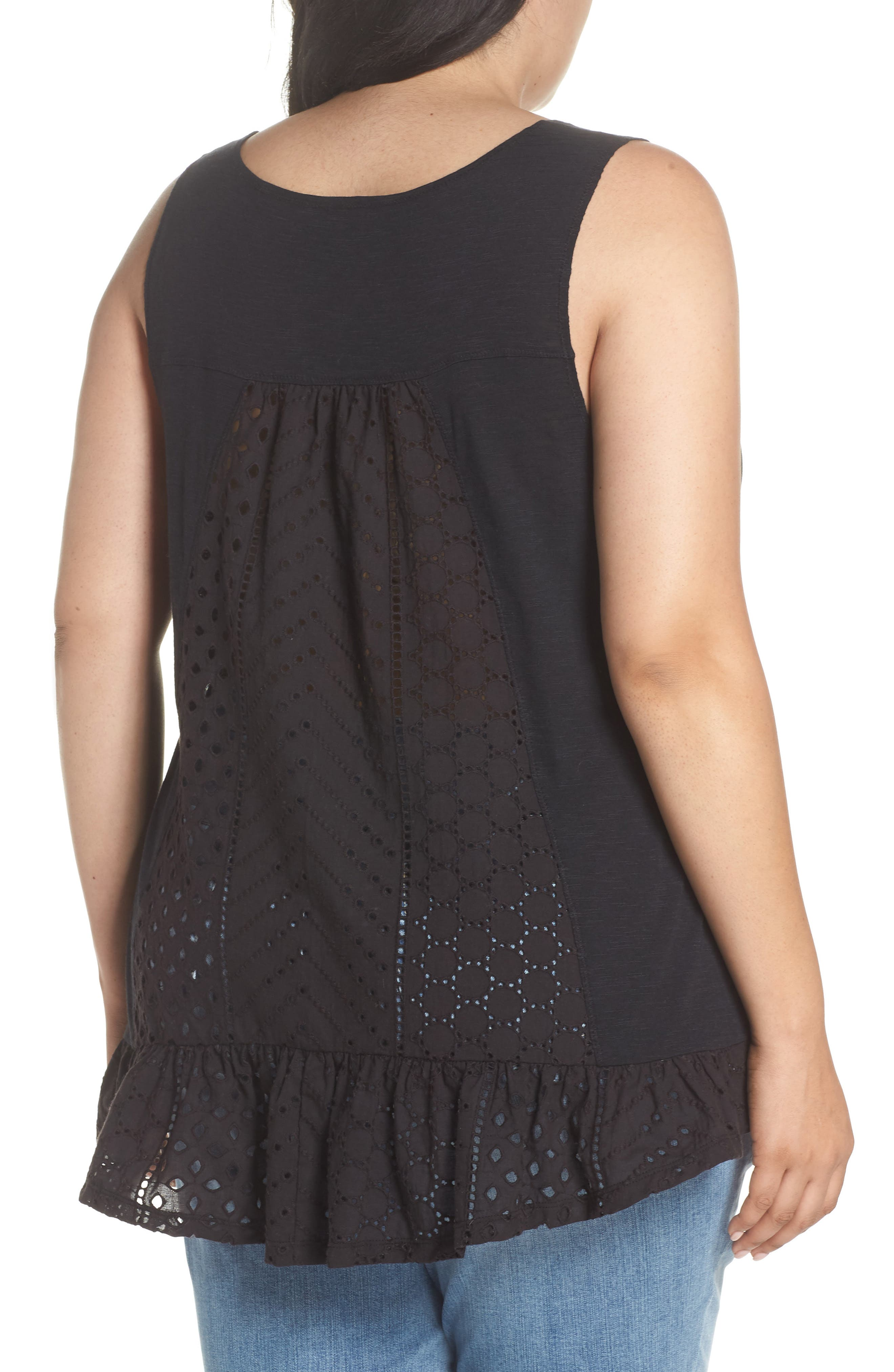 Eyelet Back Tank,                             Alternate thumbnail 2, color,                             Black