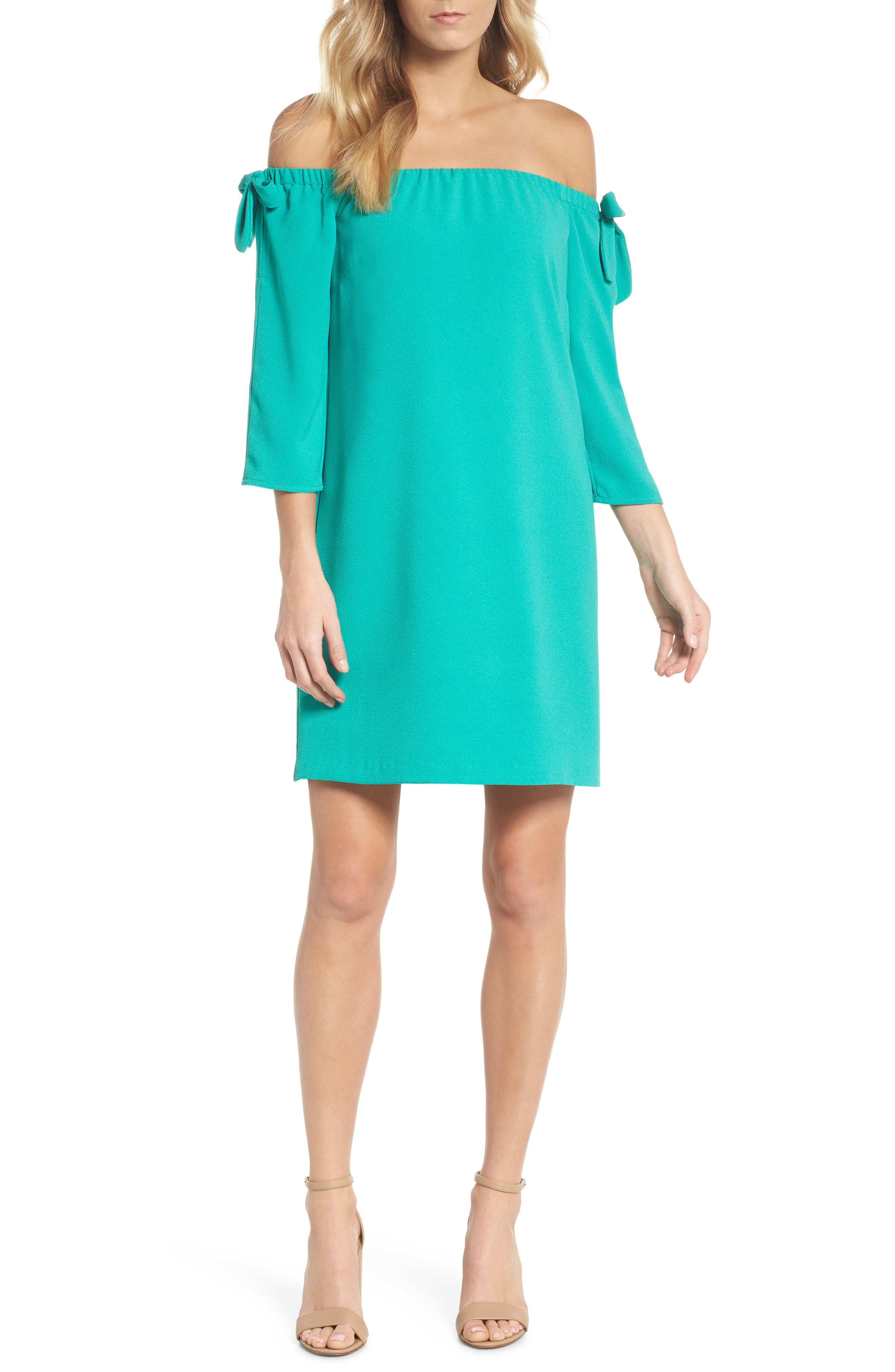 Charles Henry Tie Sleeve Off the Shoulder Shift Dress (Regular & Petite)
