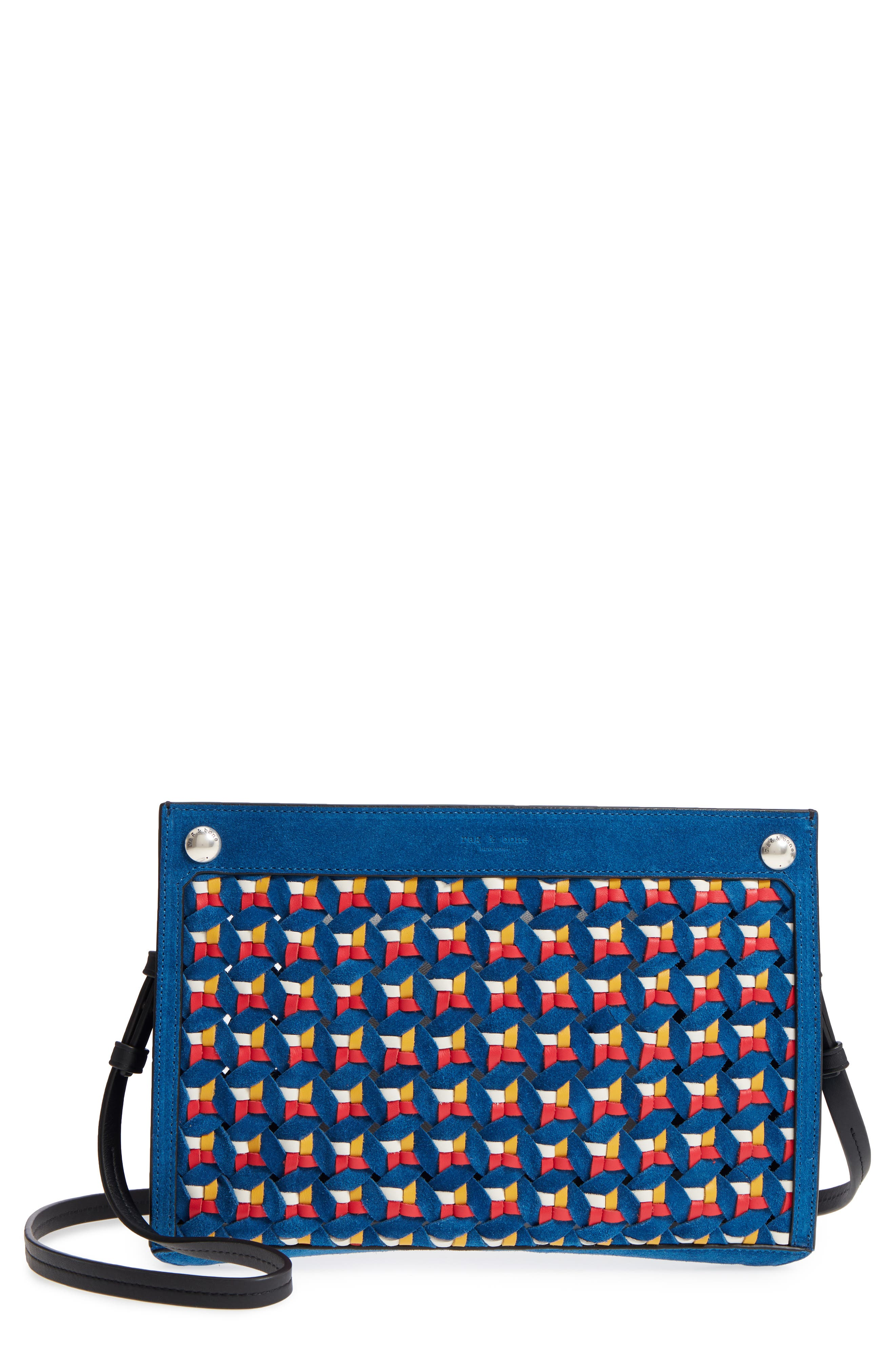 Compass Woven Suede & Leather Crossbody Bag,                         Main,                         color, Multi Woven