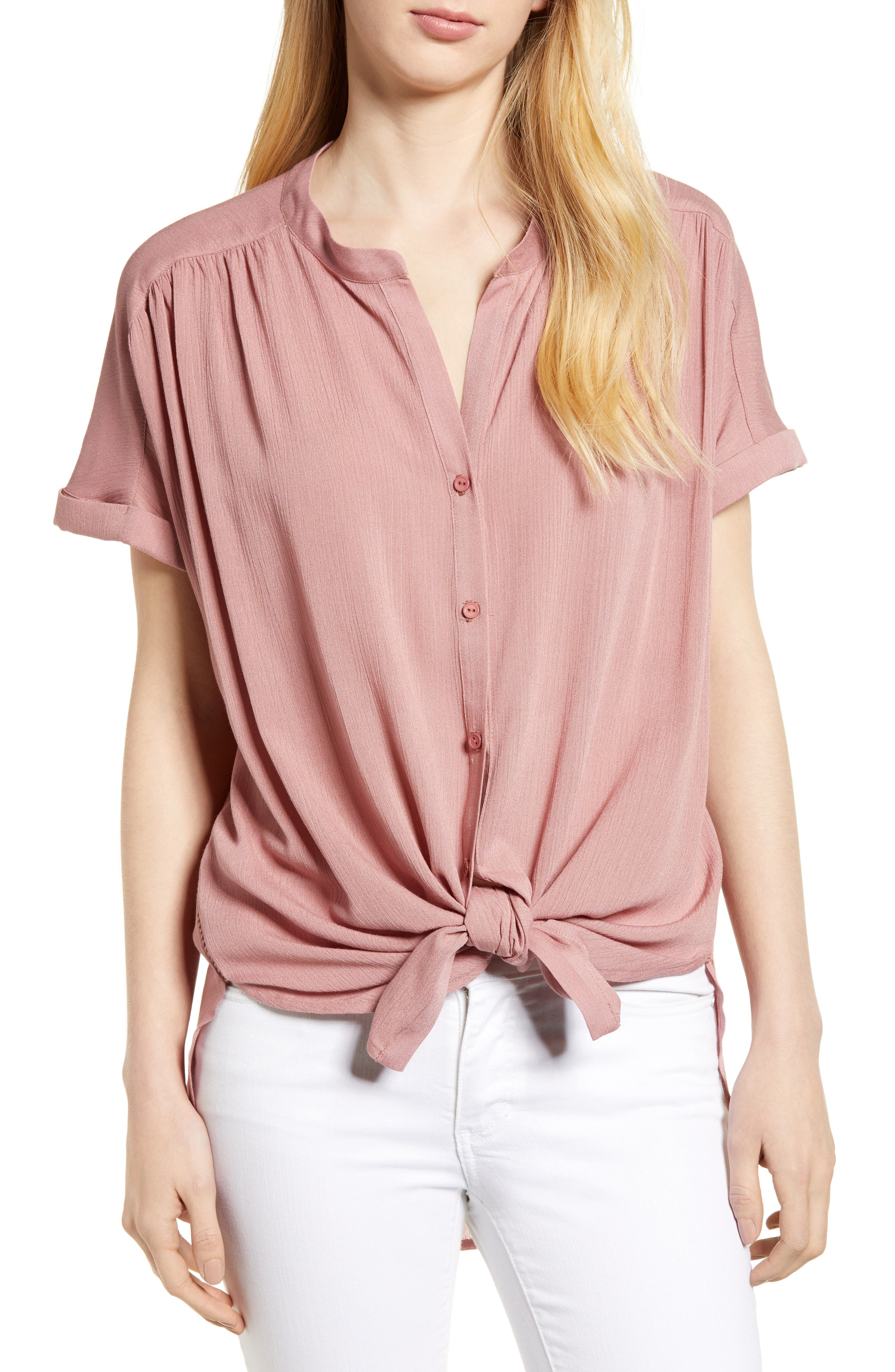 Relaxed Short Sleeve Crinkle Blouse,                         Main,                         color, Mauve/ Terracotta