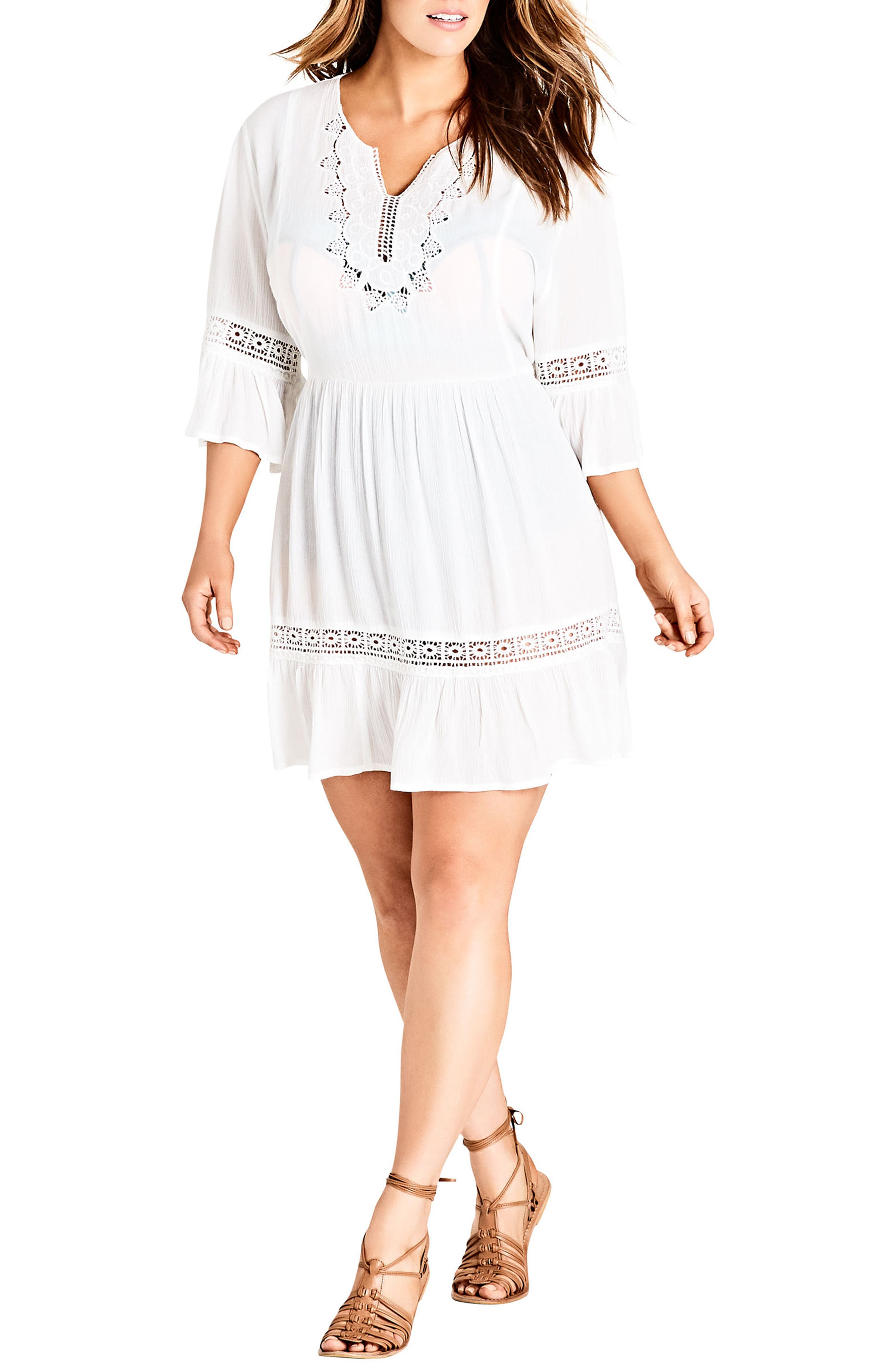 Embroidered Bell Sleeve Fit & Flare Dress,                             Alternate thumbnail 7, color,                             Ivory