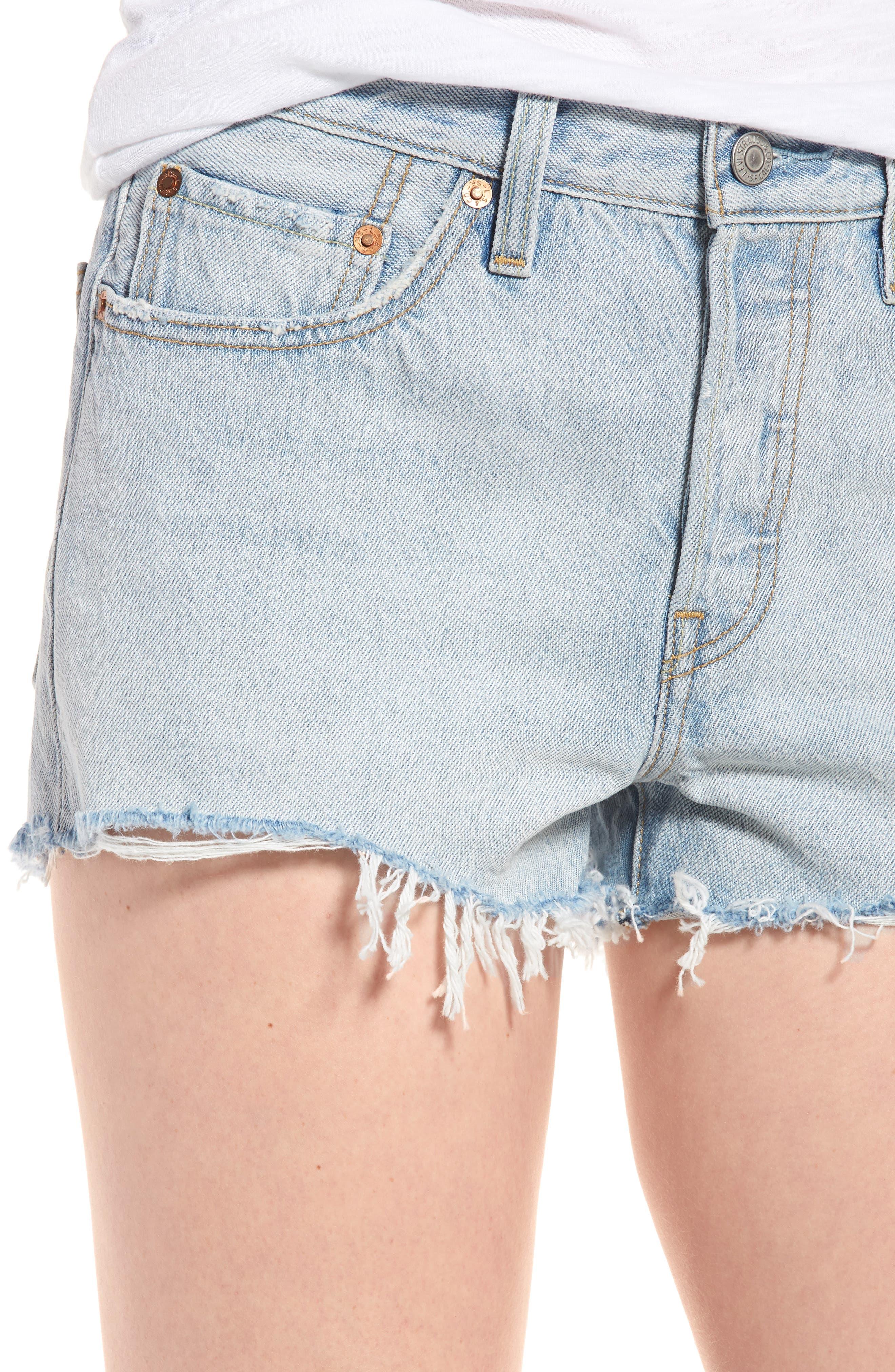 501<sup>®</sup> Cutoff Denim Shorts,                             Alternate thumbnail 4, color,                             Bleached Authentic