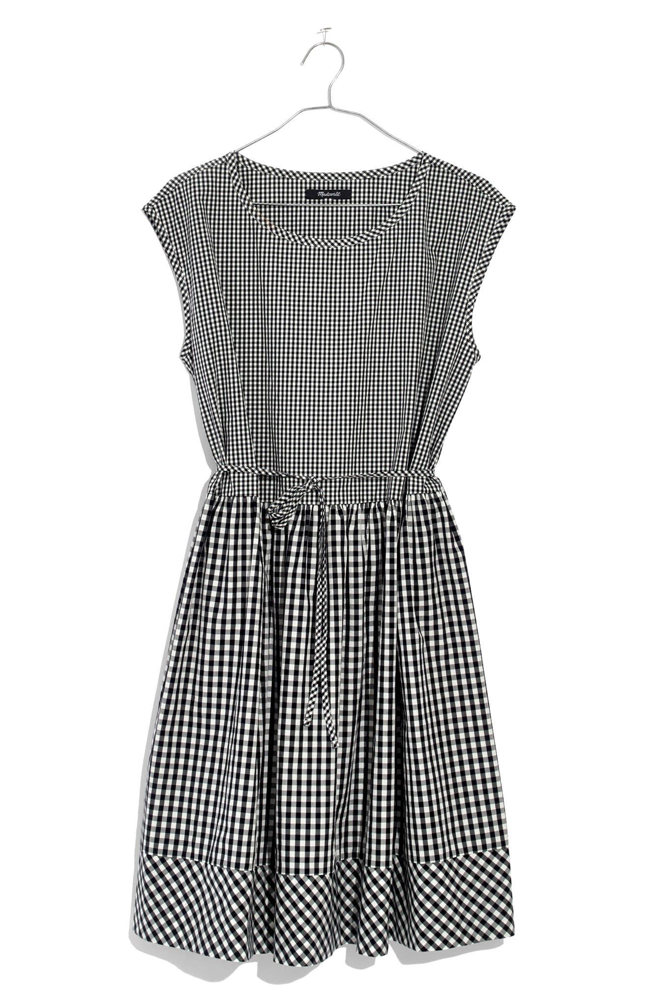 Gingham Tie Back Minidress,                             Alternate thumbnail 4, color,                             True Black