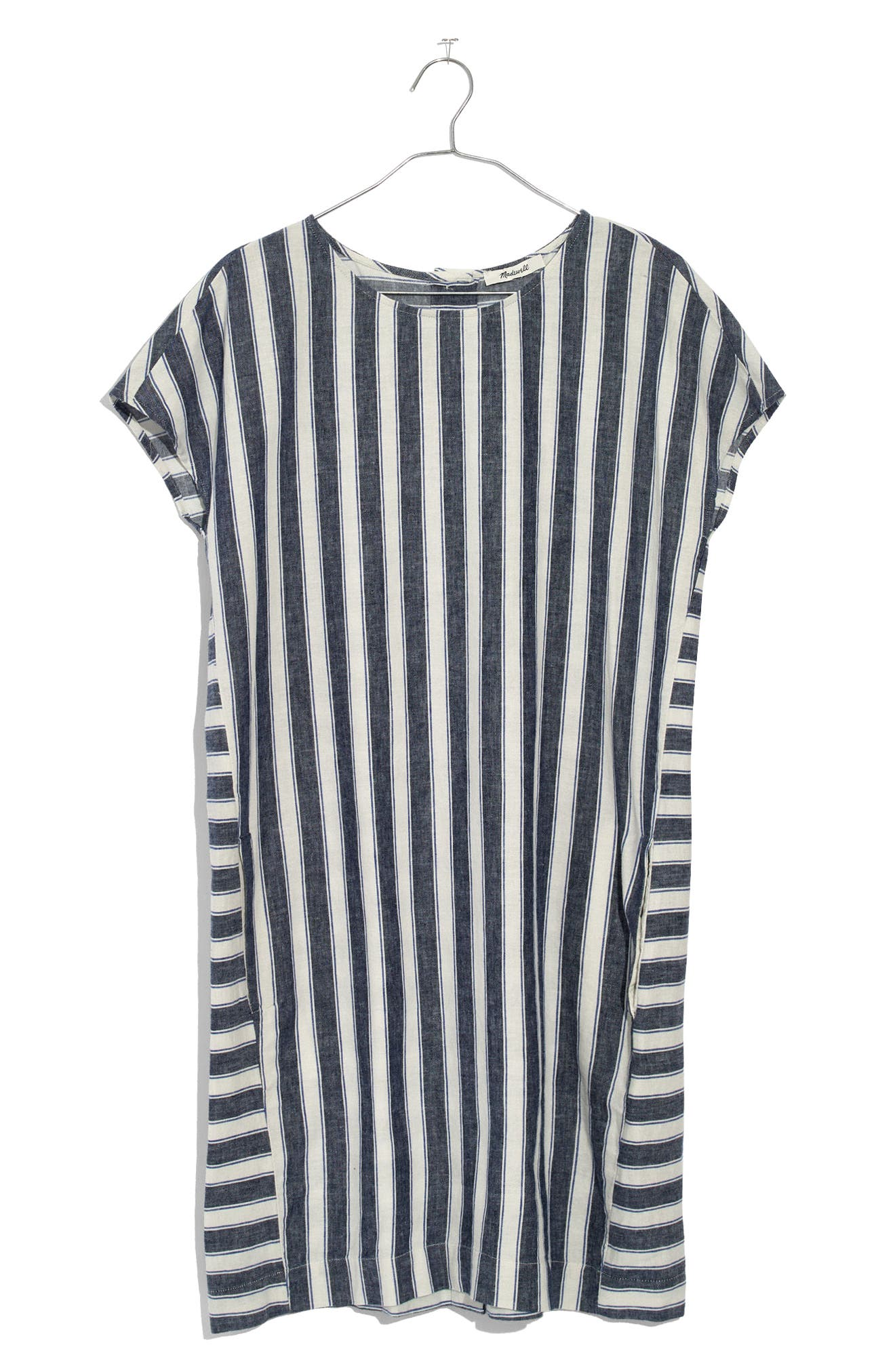 Stripe Play Button Back Dress,                             Alternate thumbnail 4, color,                             Transatlantic Blue
