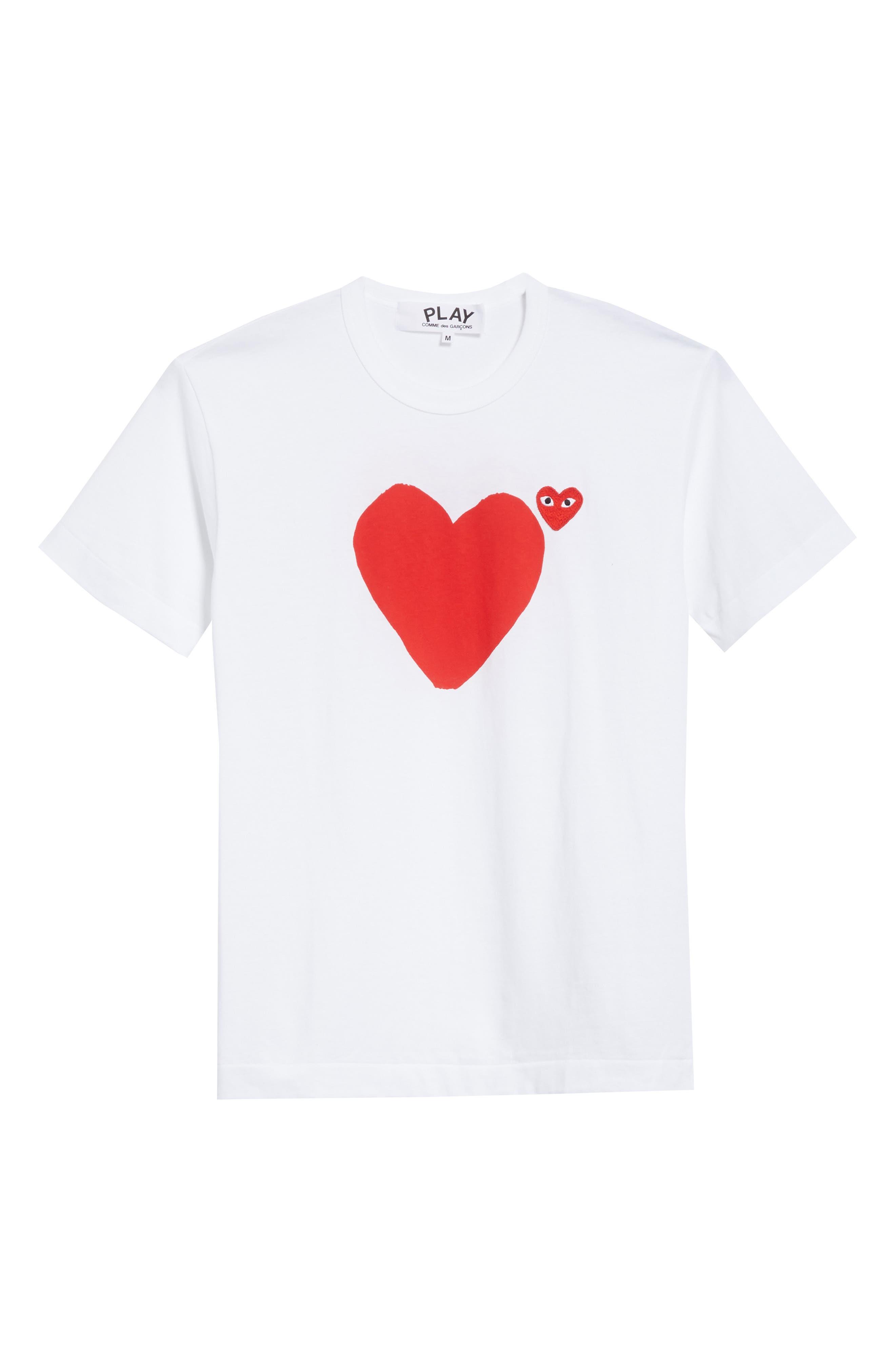 Comme des Garçons PLAY Graphic T-Shirt,                             Alternate thumbnail 6, color,                             1 White