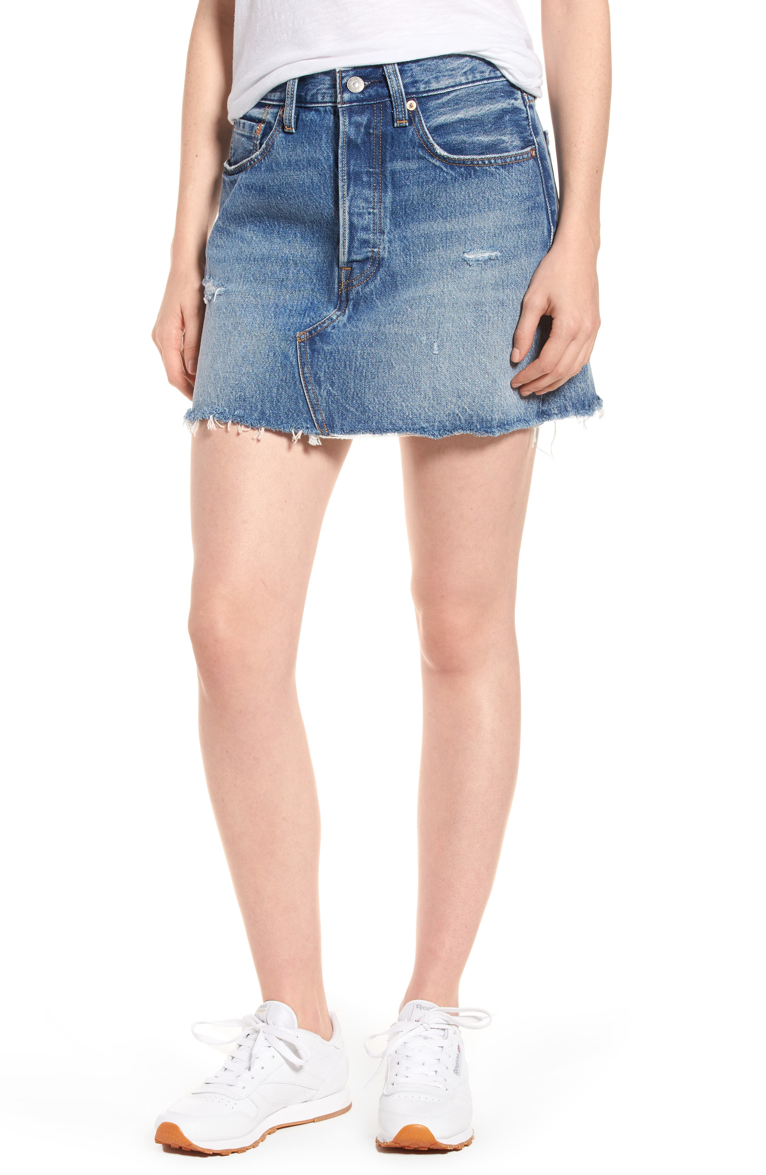 Distressed Denim Skirt,                             Main thumbnail 1, color,                             Hole In One