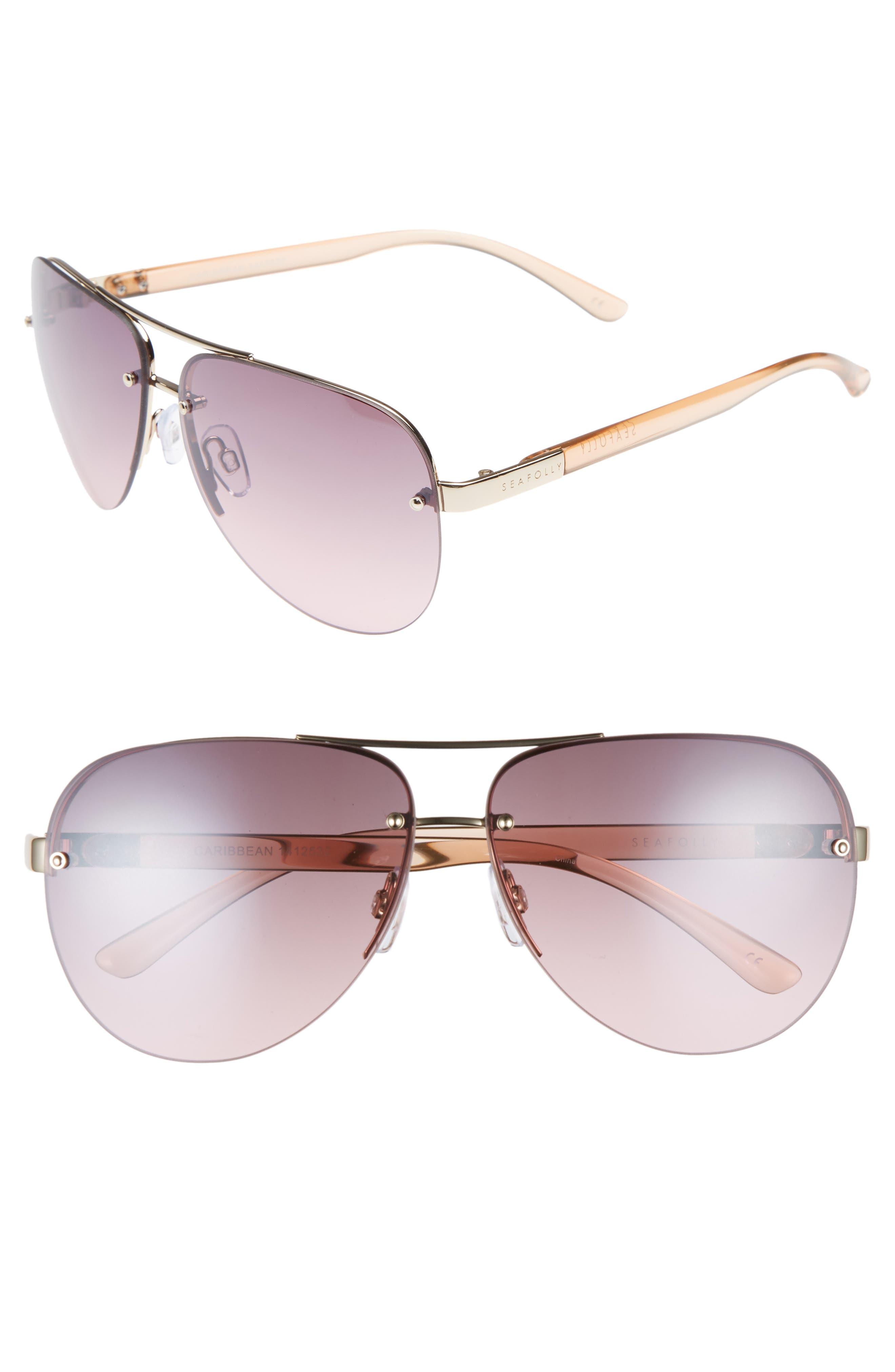 Caribbean 62mm Rimless Aviator Sunglasses,                         Main,                         color, Gold