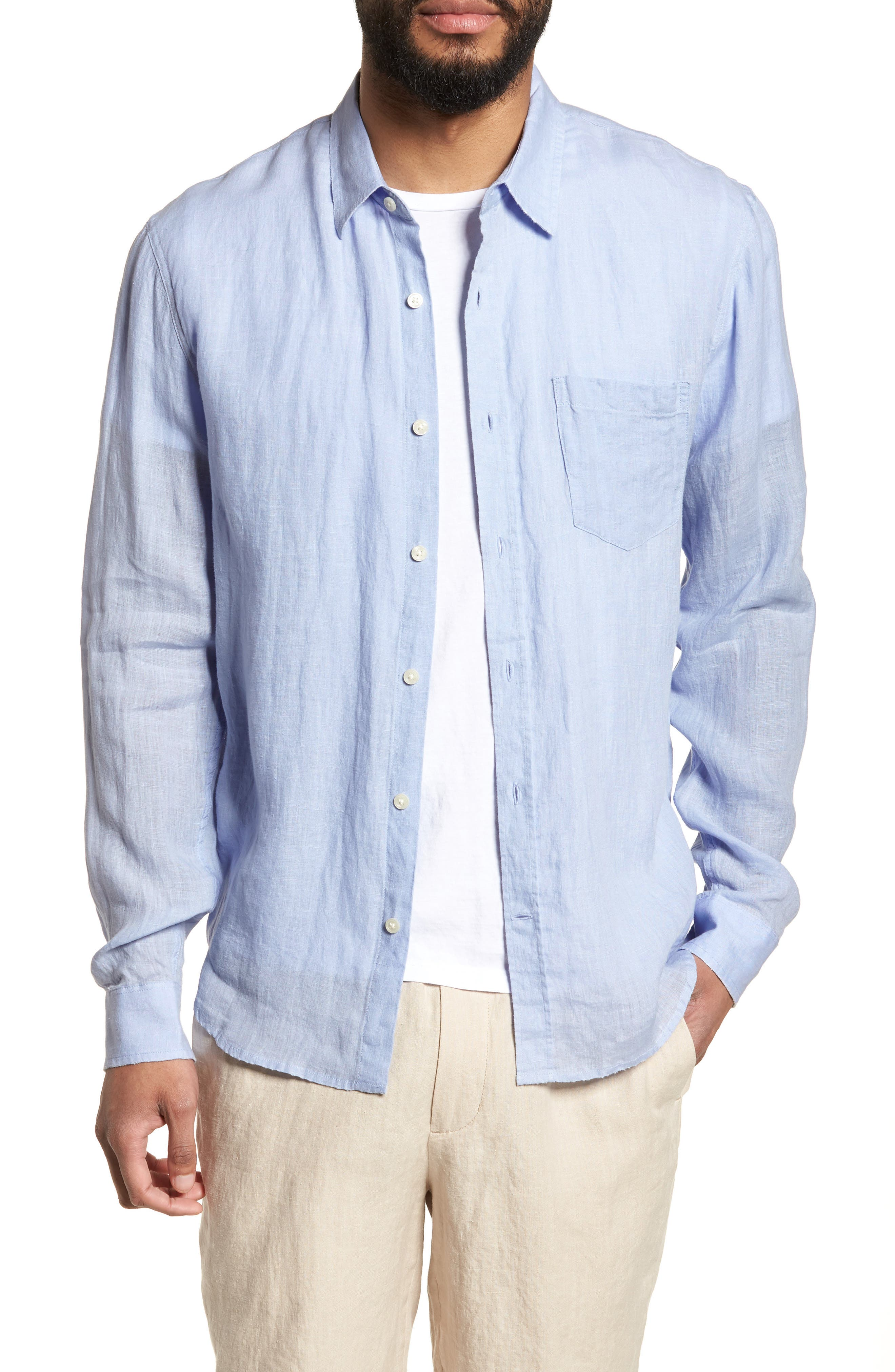 Washed Slim Fit Linen Sport Shirt,                         Main,                         color, Feather