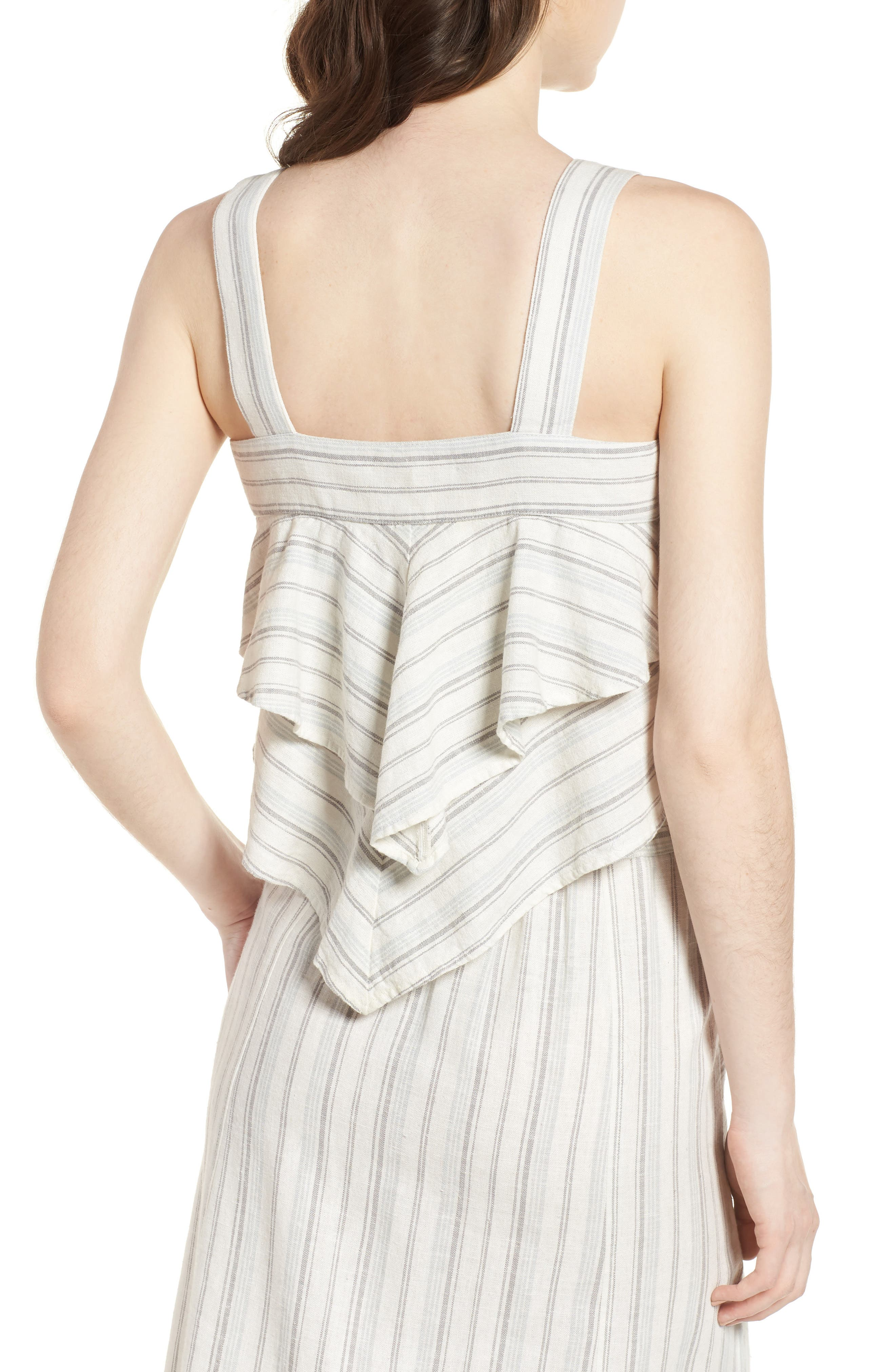 Tiered Linen Crop Top,                             Alternate thumbnail 3, color,                             Ivory Verigated Stripe