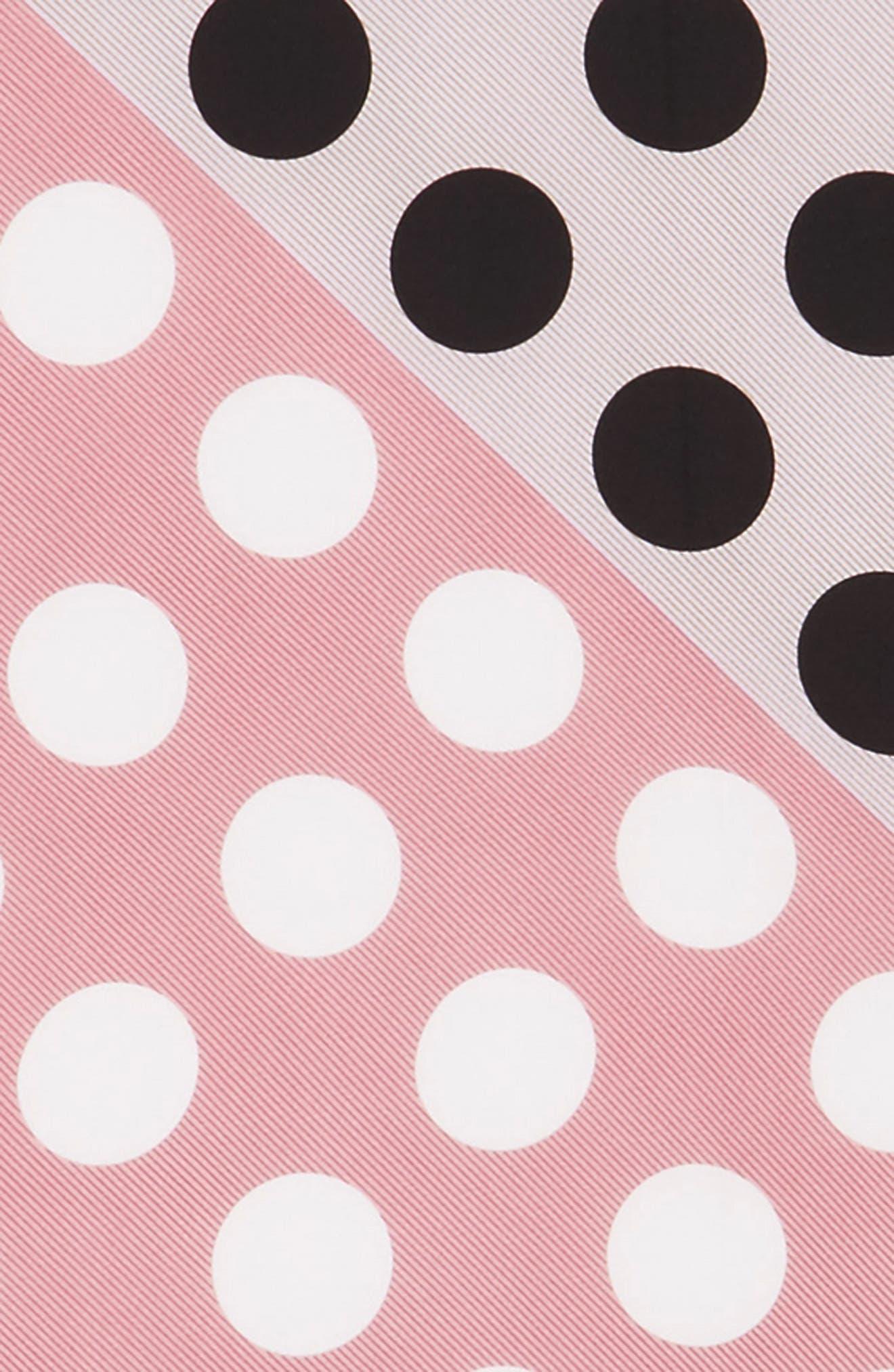 Polka Stripe Square Silk Scarf,                             Alternate thumbnail 3, color,                             Lilac Black