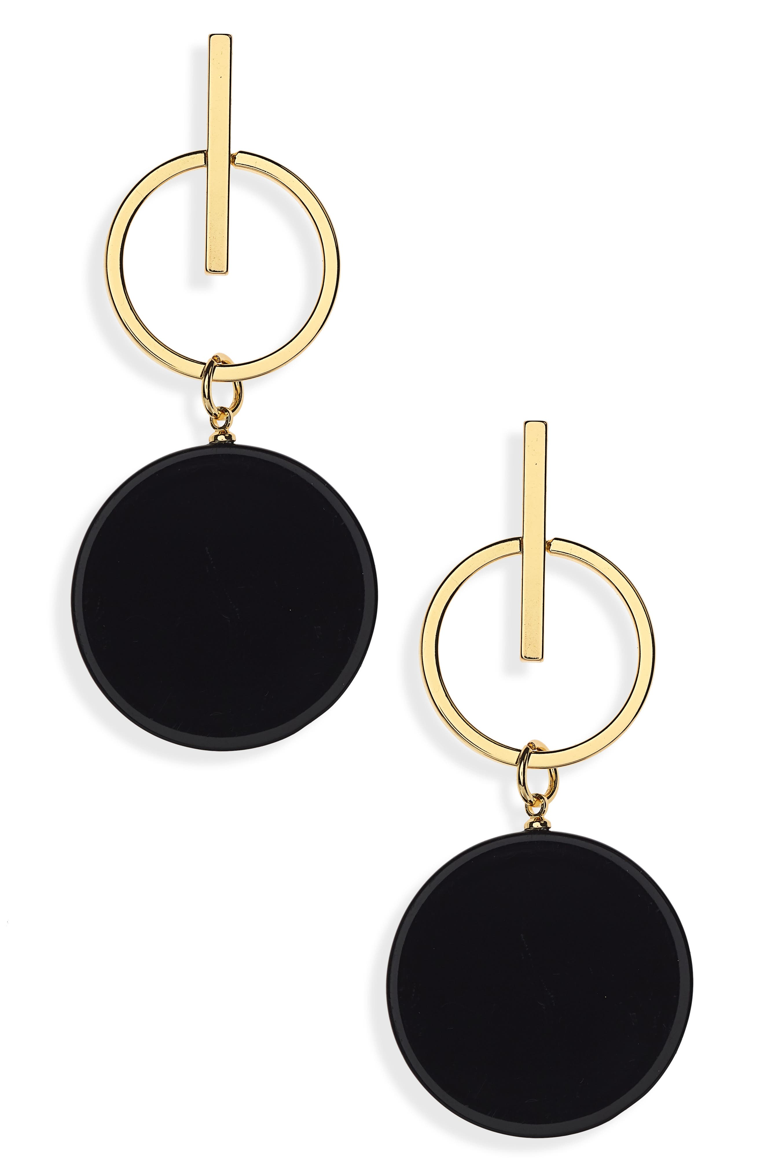 Acrylic Disc Earrings,                         Main,                         color, Gold/ Black