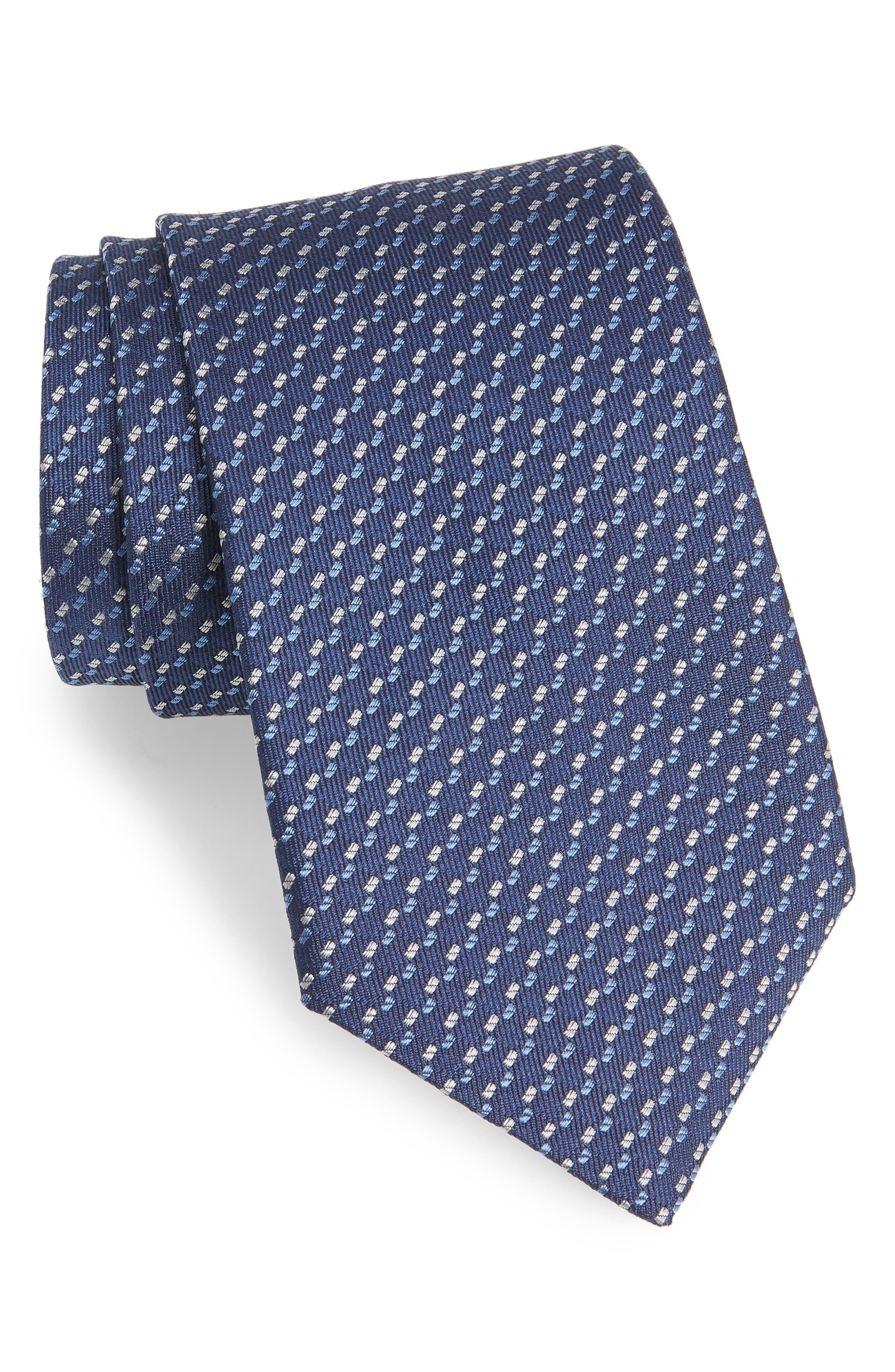 Dot Silk Tie,                         Main,                         color, Blue