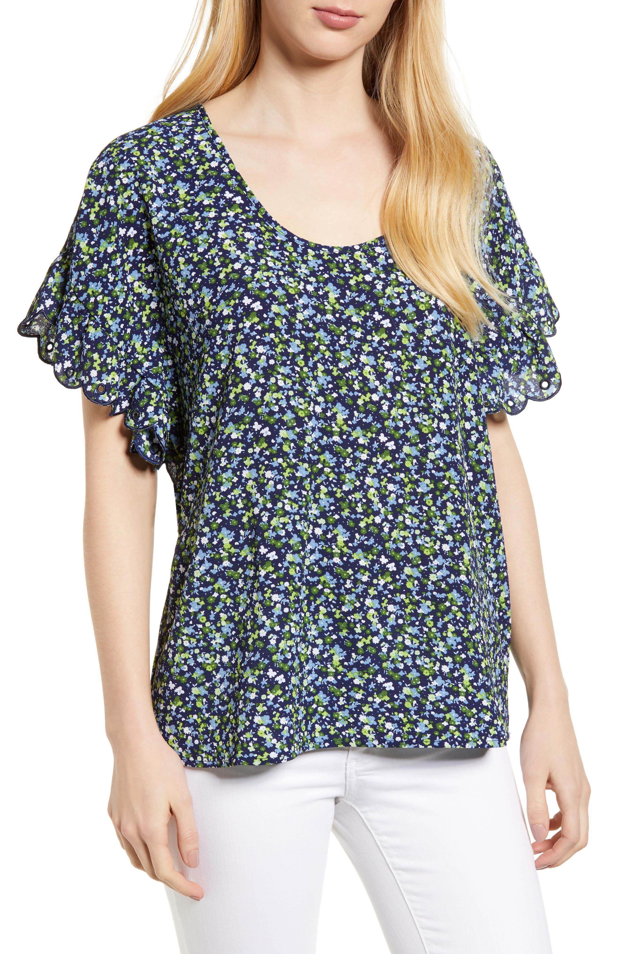 Wildflower Print Top,                         Main,                         color, True Navy/ Green Apple Mu
