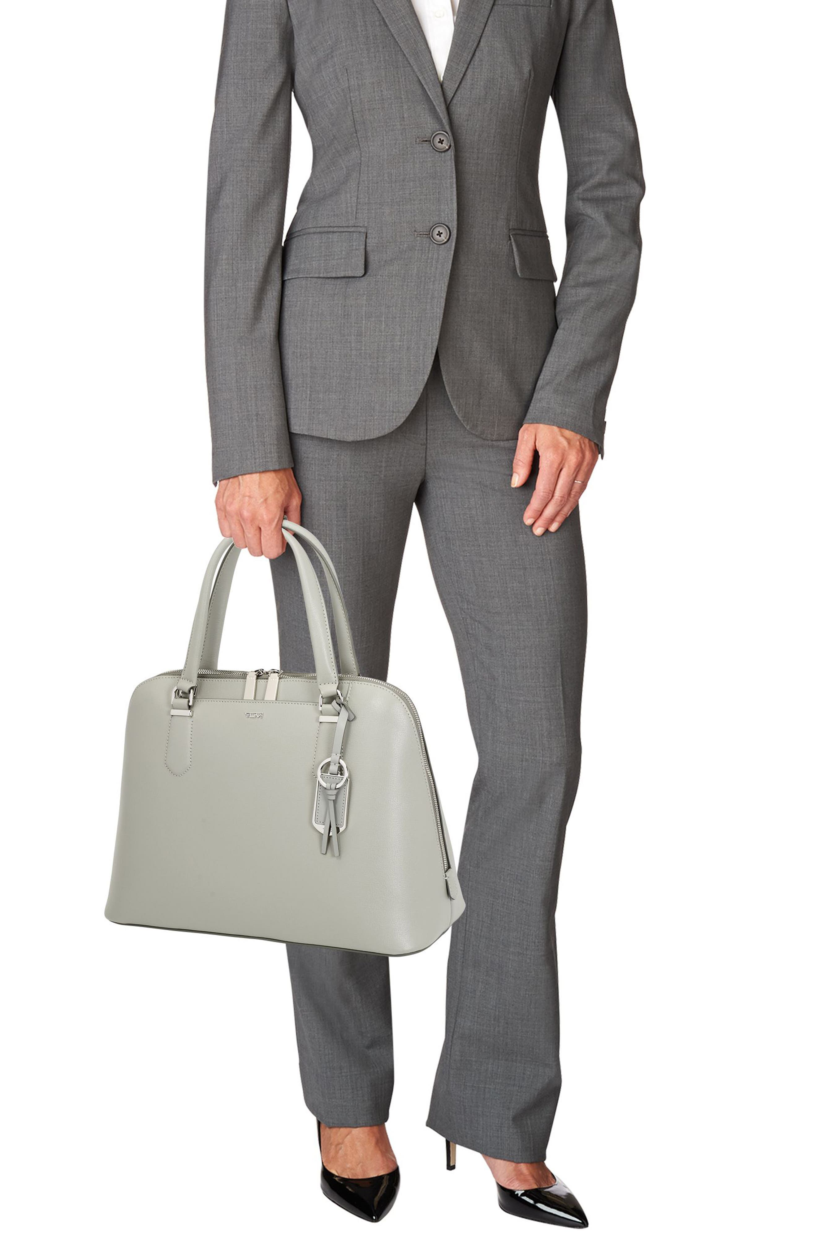 Stanton – Deonne Domed Leather Satchel,                             Alternate thumbnail 2, color,                             Light Grey