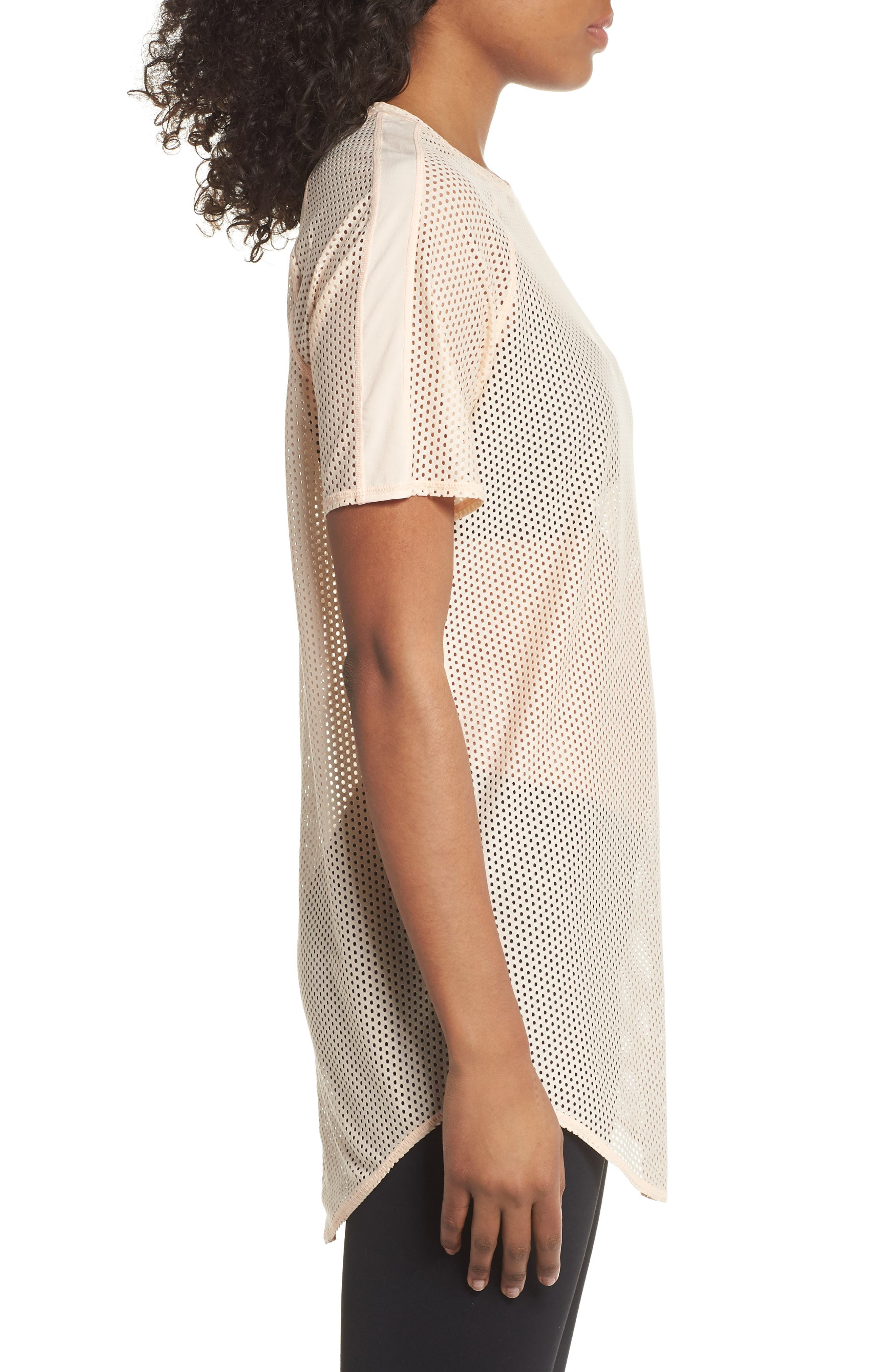 Throwback Mesh Tunic,                             Alternate thumbnail 3, color,                             Coral Pale