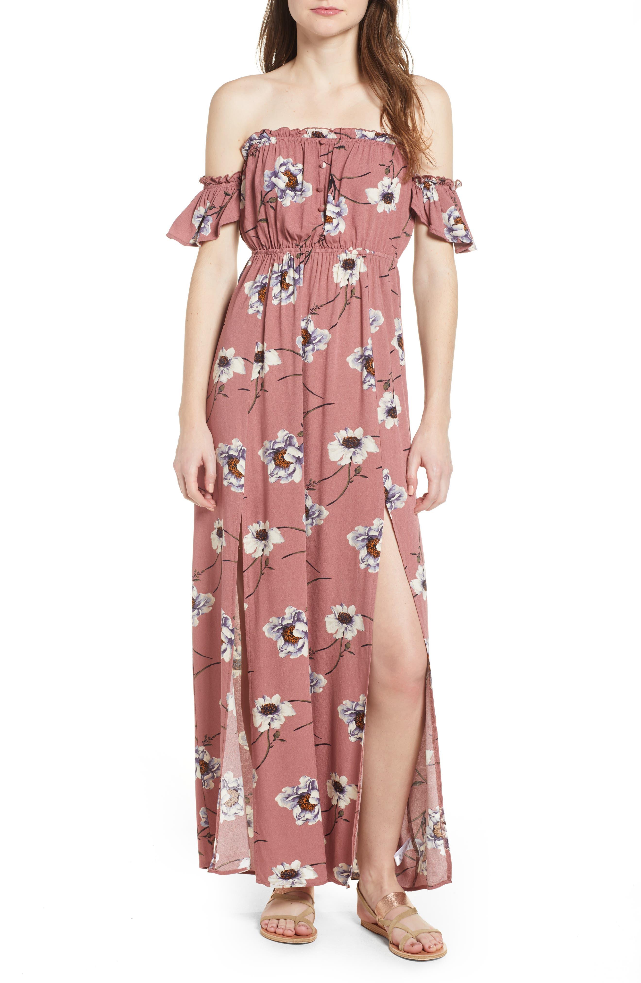 Off the Shoulder Maxi Dress,                             Main thumbnail 1, color,                             Mauve Floral