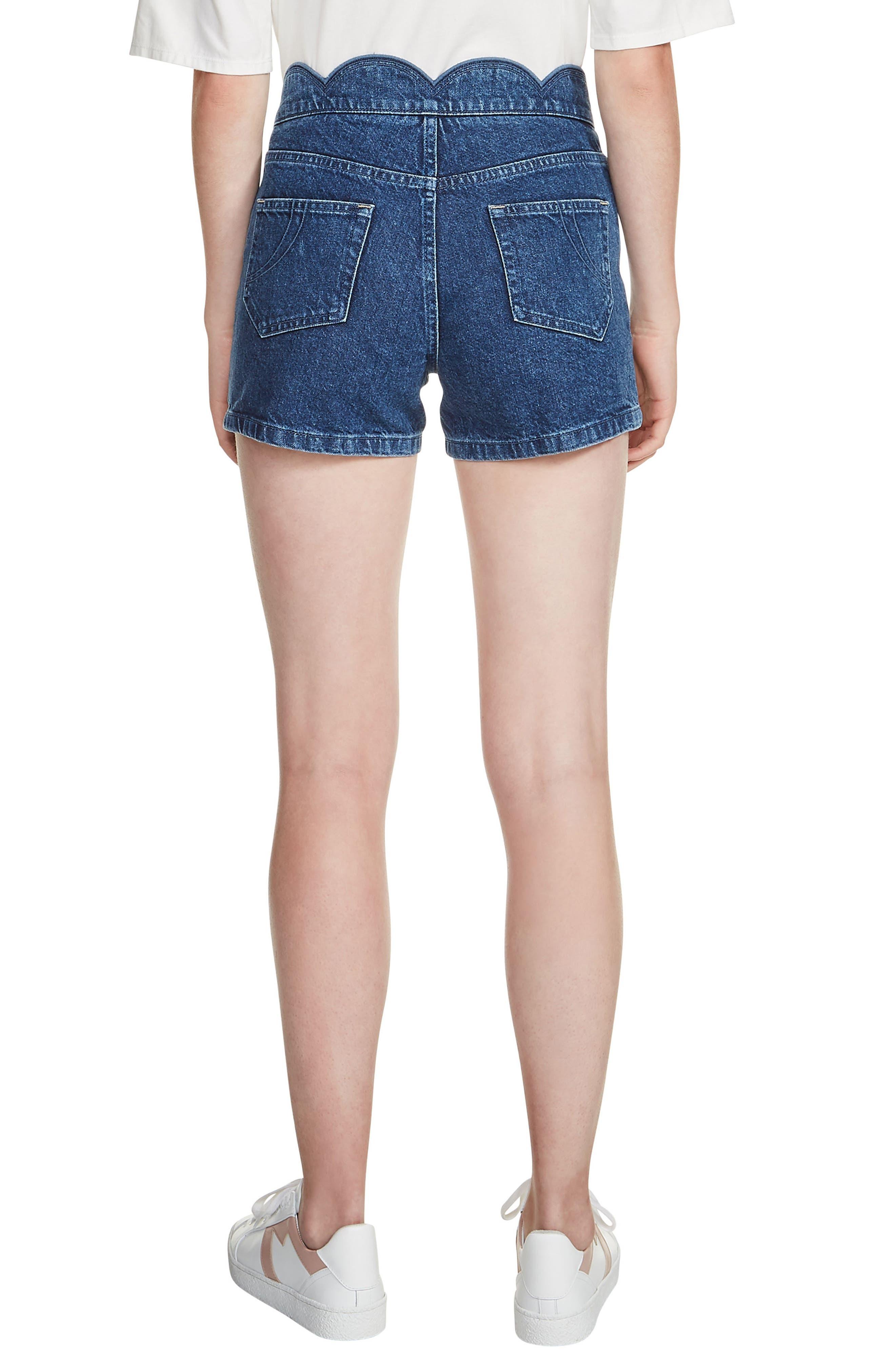 Shafti Scallop Waist Denim Shorts,                             Alternate thumbnail 2, color,                             Denim