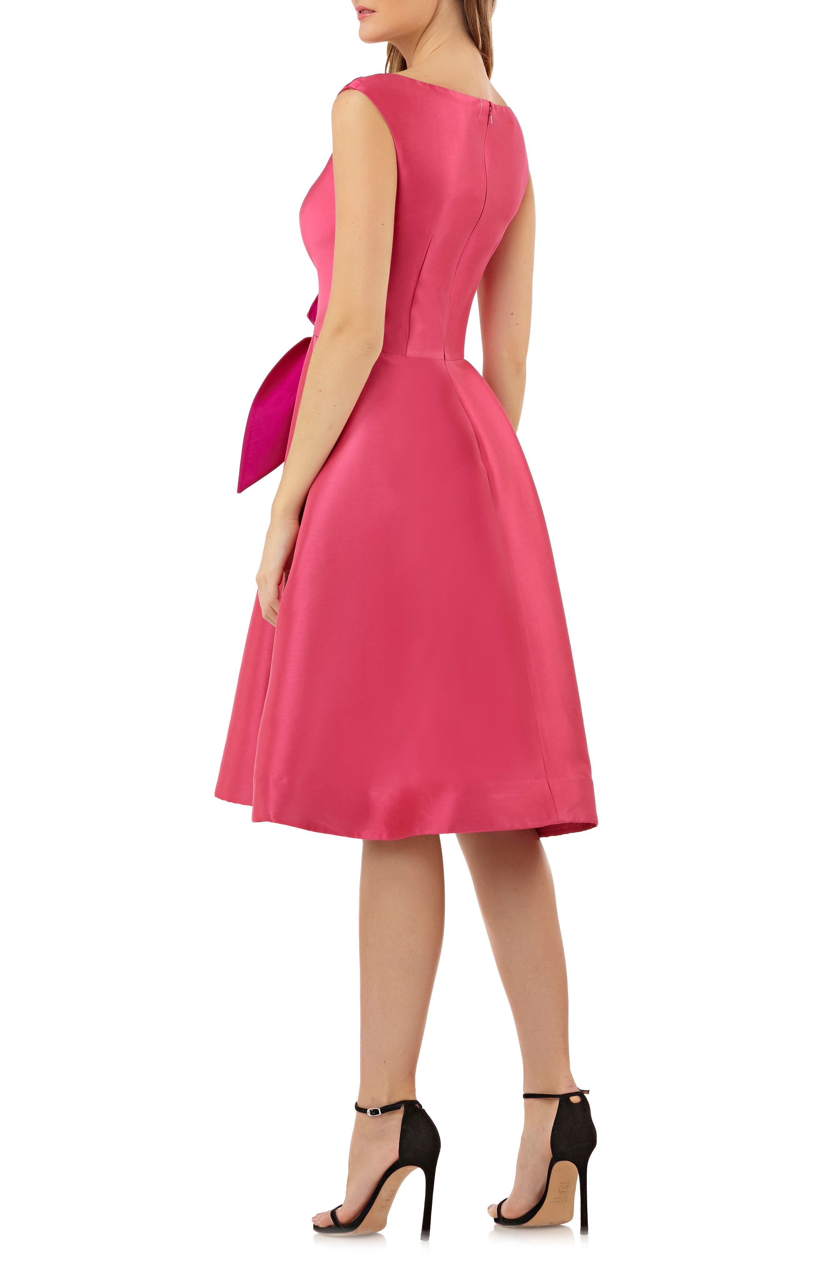 Sleeveless Stretch Mikado Fit & Flare Dress,                             Alternate thumbnail 2, color,                             Hibiscus