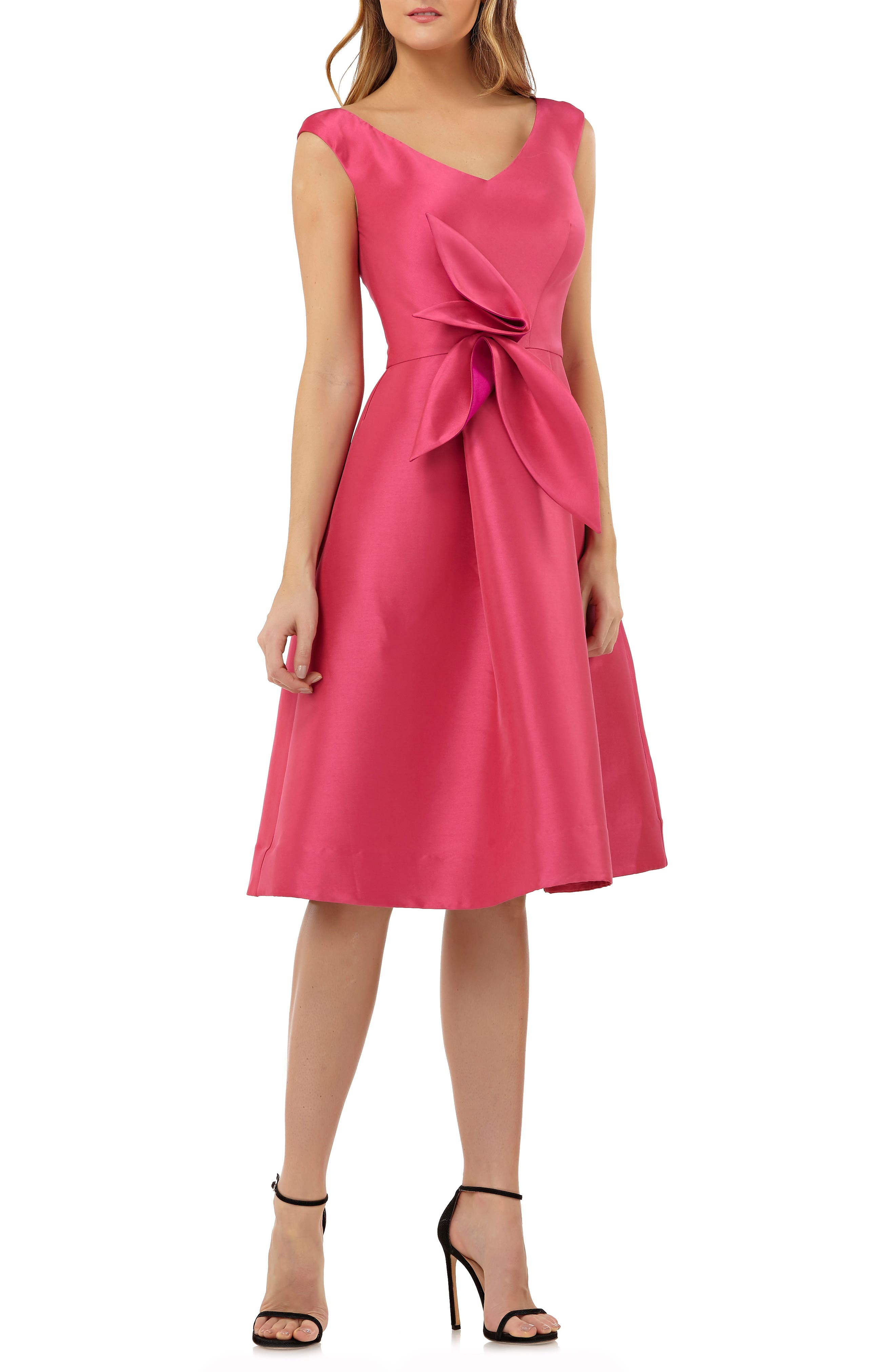 Sleeveless Stretch Mikado Fit & Flare Dress,                         Main,                         color, Hibiscus