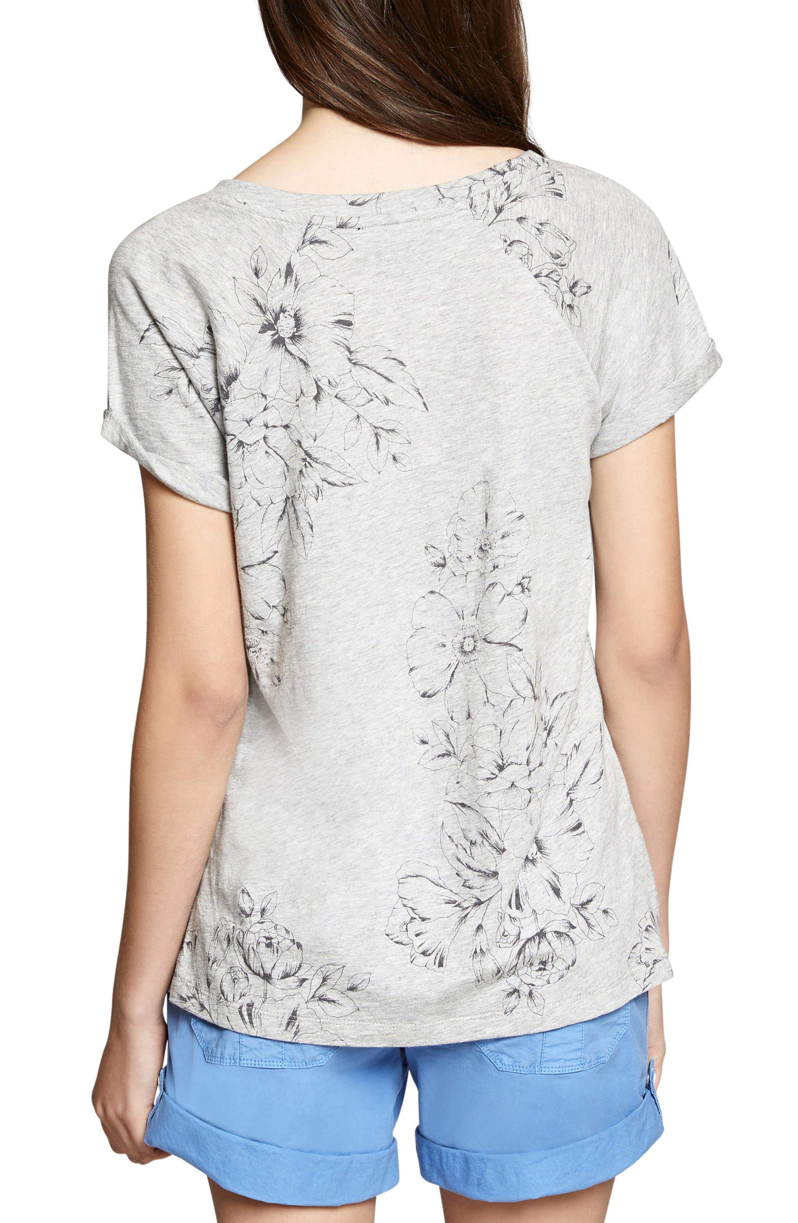 Hibiscus V-Neck Tee,                             Alternate thumbnail 2, color,                             Heather Grey