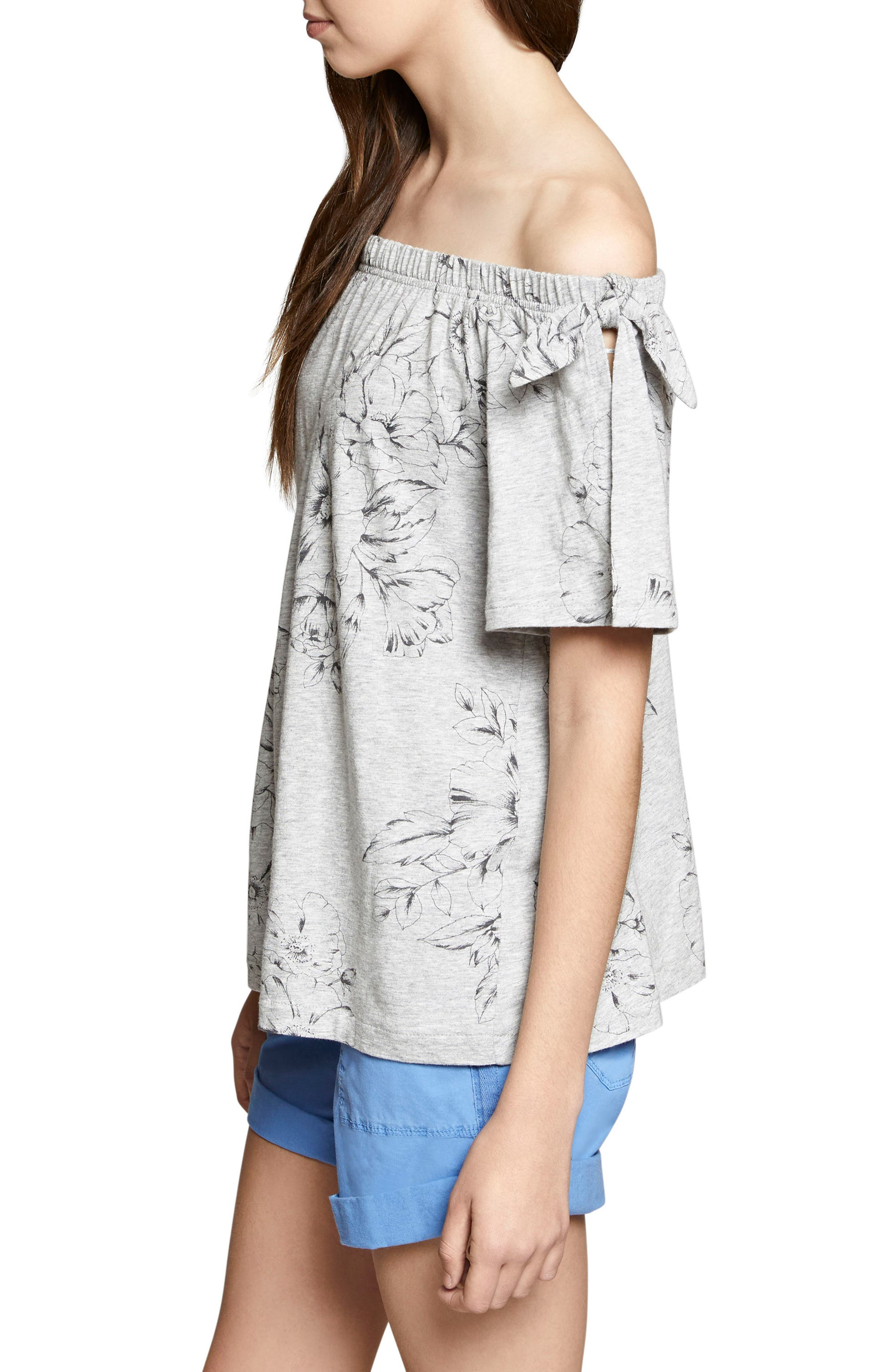 Riviera Off the Shoulder Tie Sleeve Top,                             Alternate thumbnail 3, color,                             Hibiscus/ Heather Grey