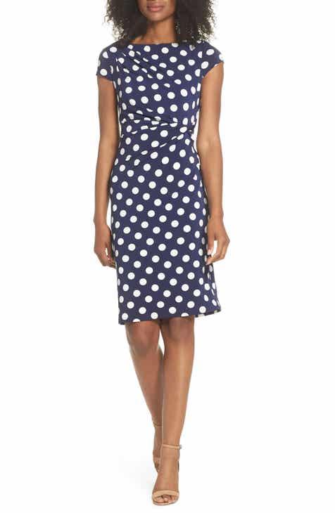 571226300e8 Eliza J Polka Dot Side Twist Sheath Dress
