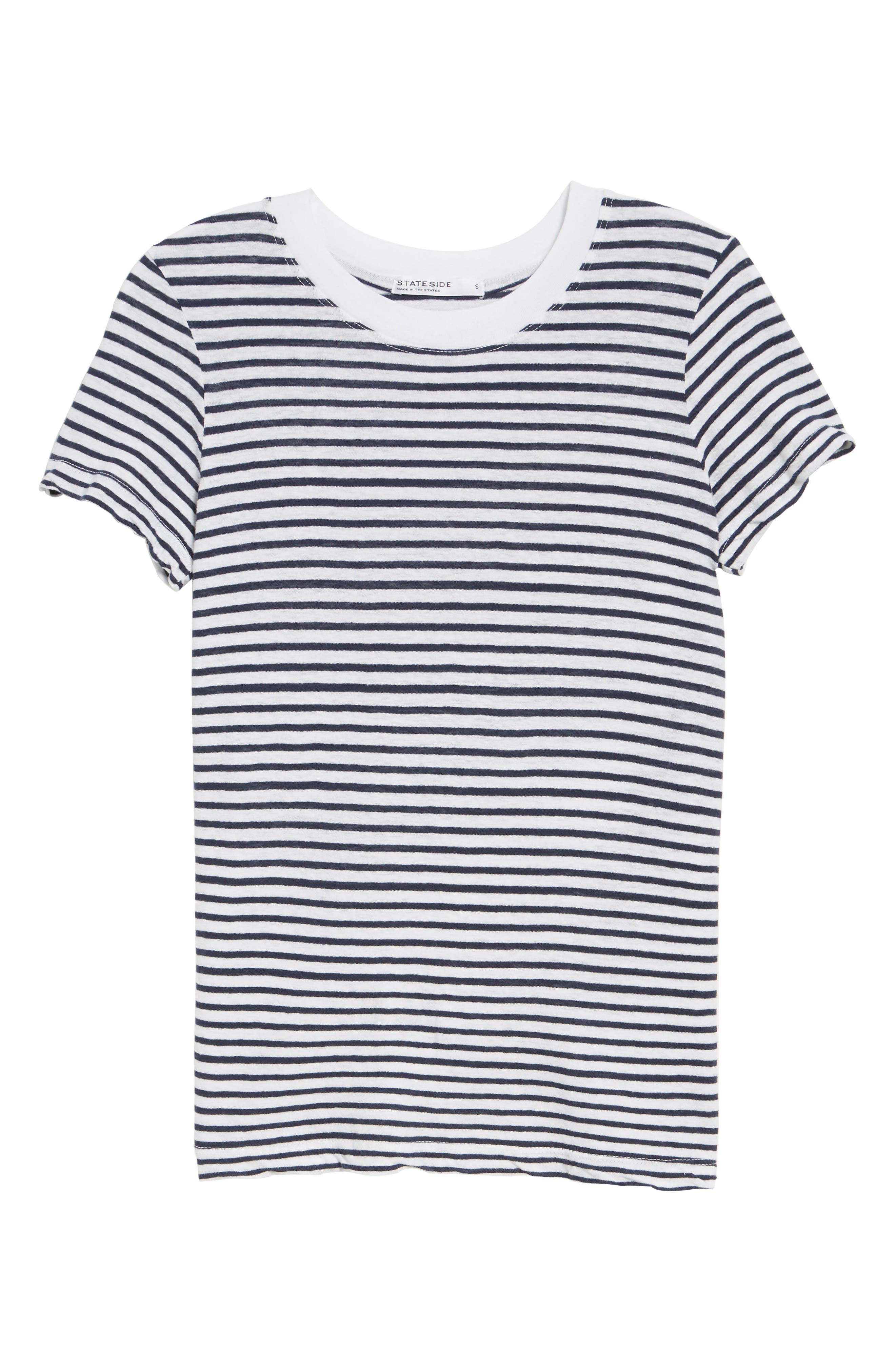 Stripe Linen Blend Boy Tee,                             Alternate thumbnail 6, color,                             Navy/ White