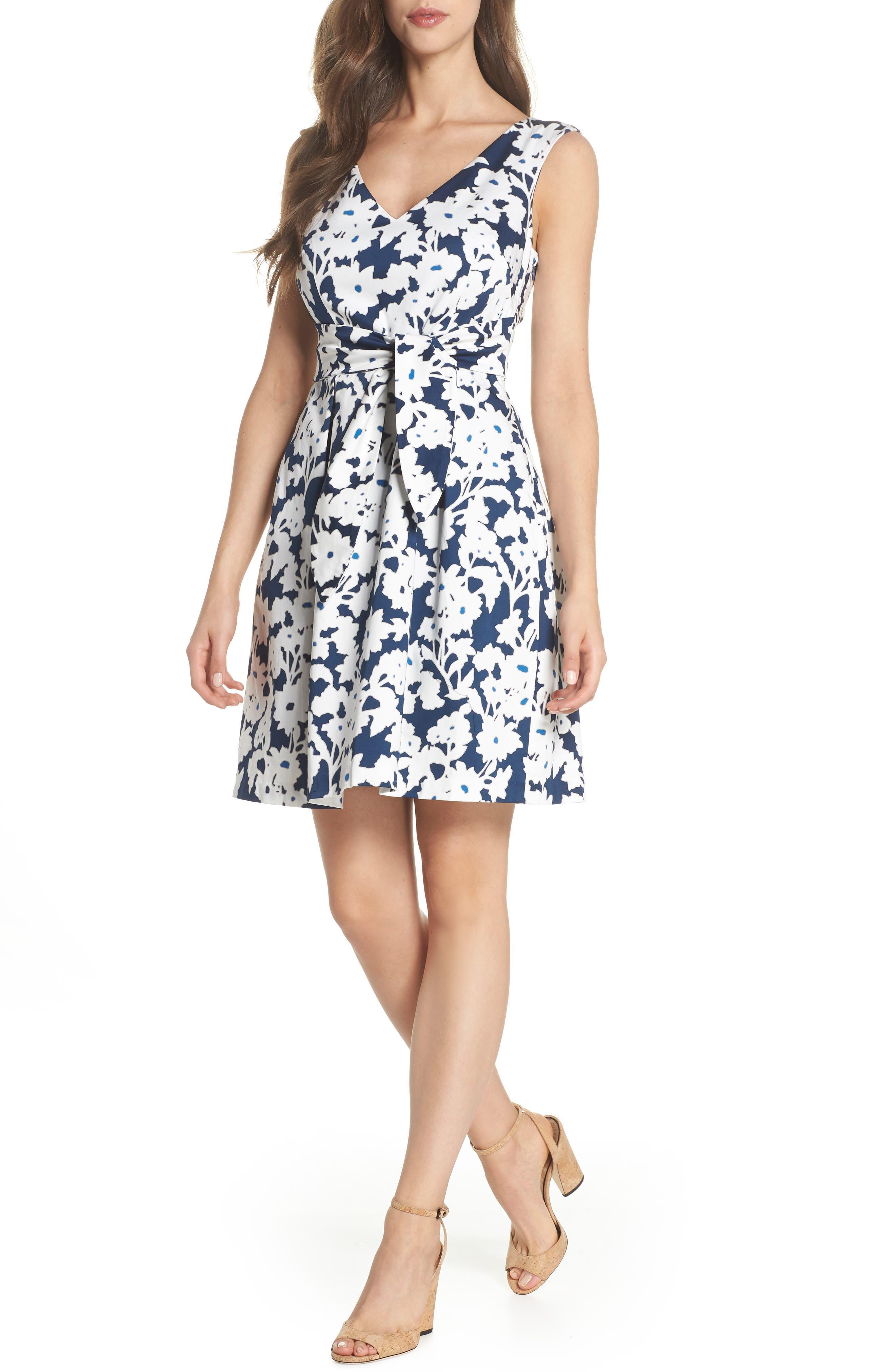 Daisy Field Fit & Flare Dress,                         Main,                         color, Navy/ Ivory Multi