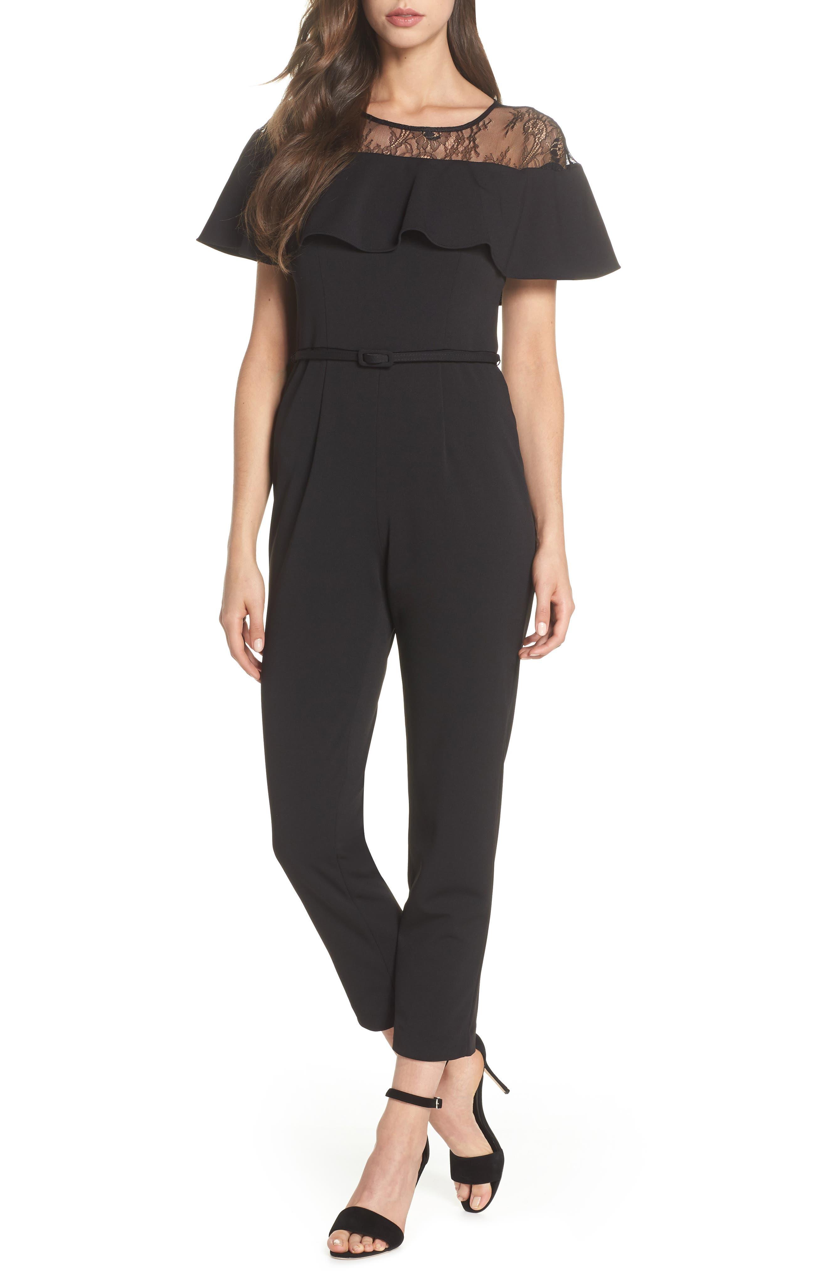 Illusion Neck Jumpsuit,                         Main,                         color, Black