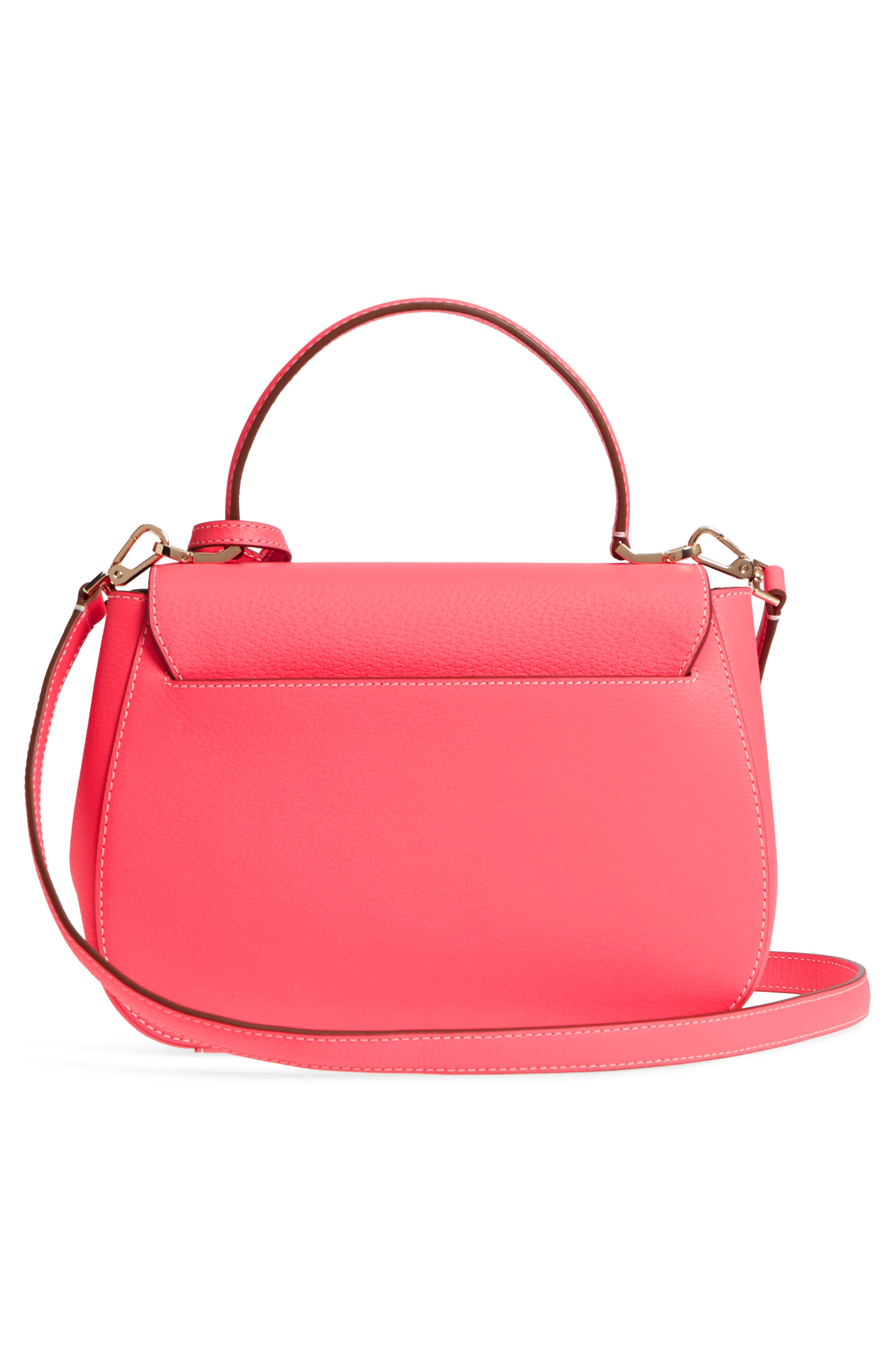 thompson street - justina leather satchel,                             Alternate thumbnail 3, color,                             Bright Flamingo