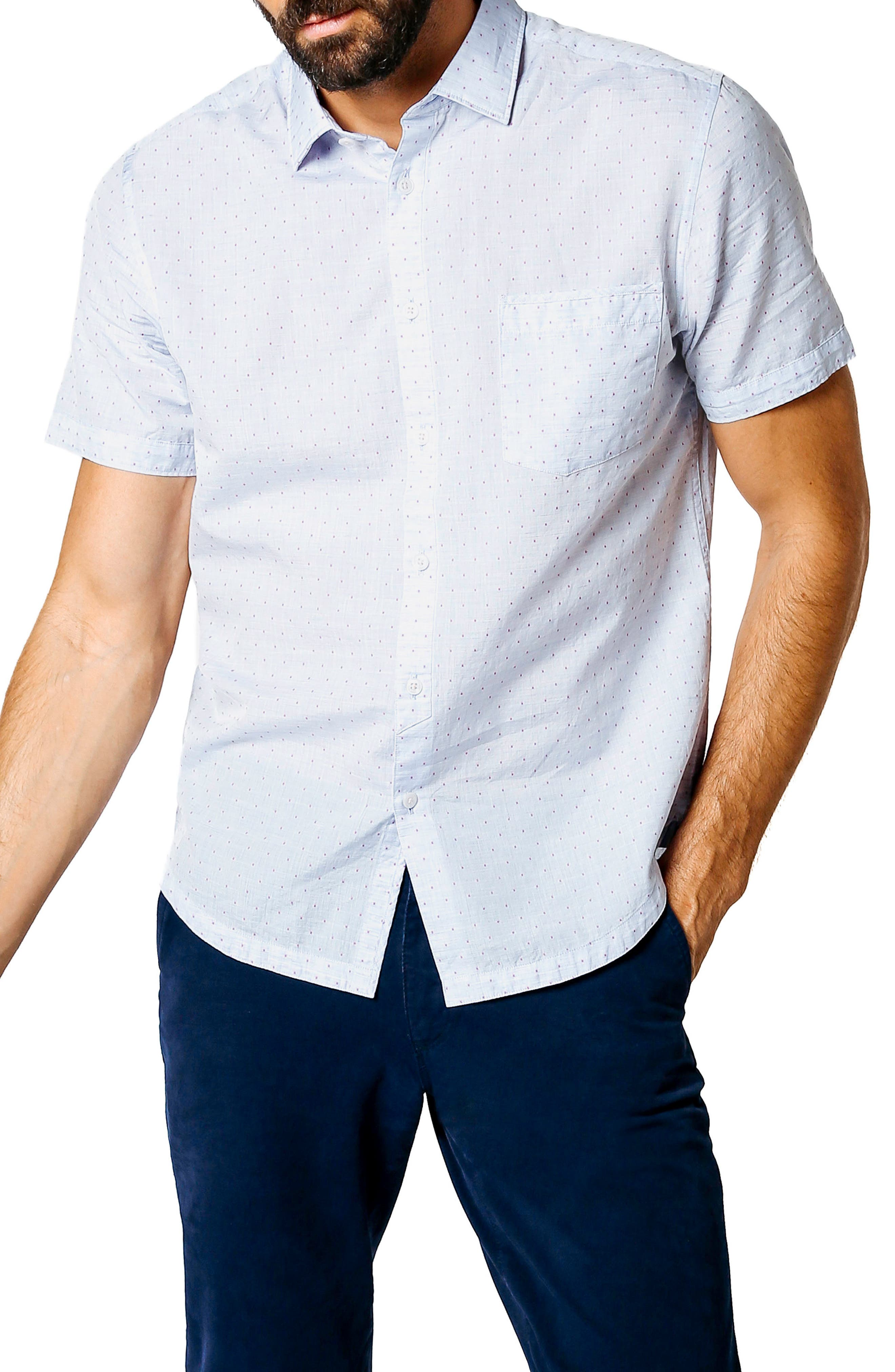 Trim Fit Microdot Sport Shirt,                             Main thumbnail 1, color,                             Blue