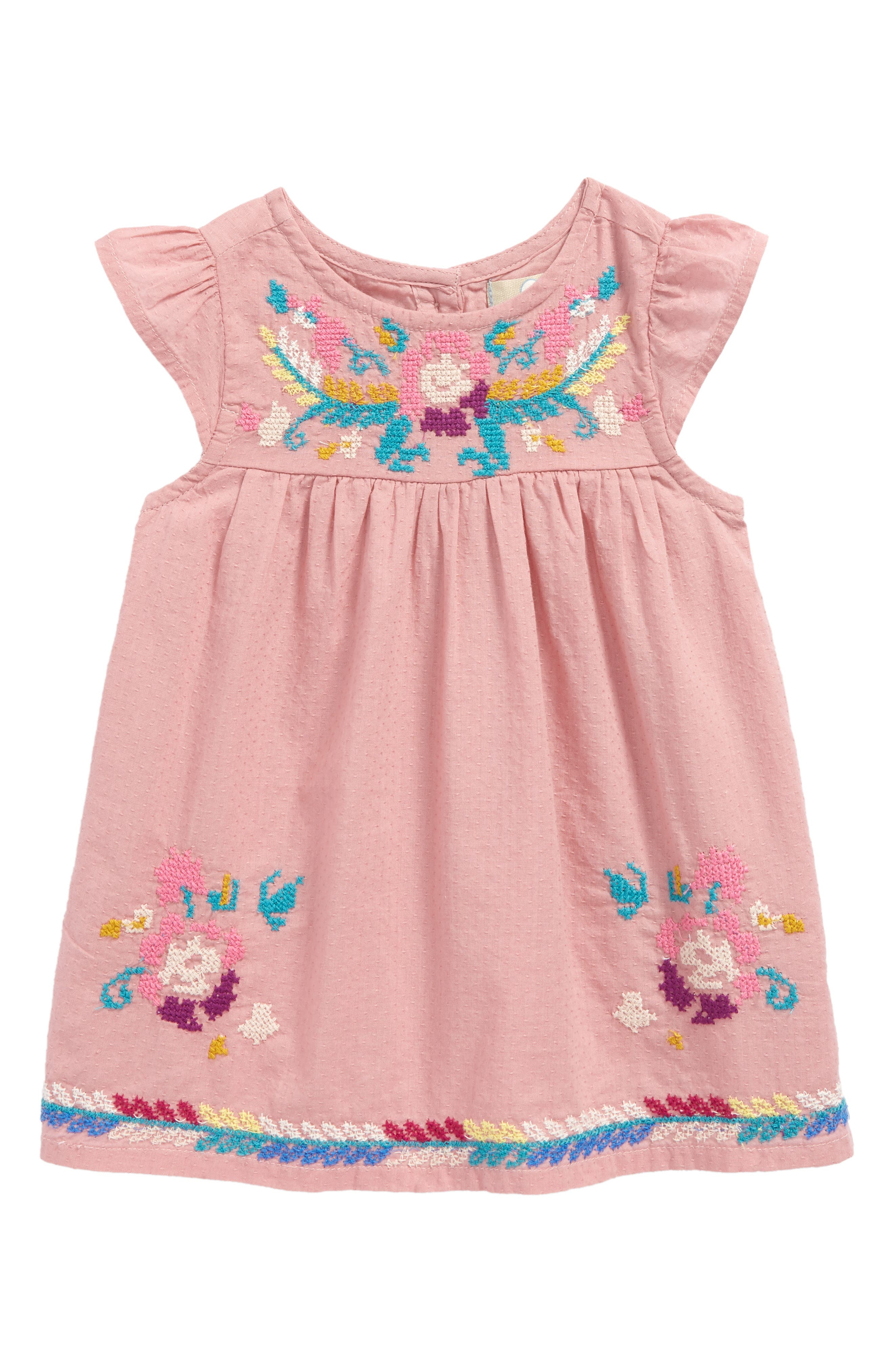 Delilah Embroidered Dress,                             Main thumbnail 1, color,                             Pink Multi