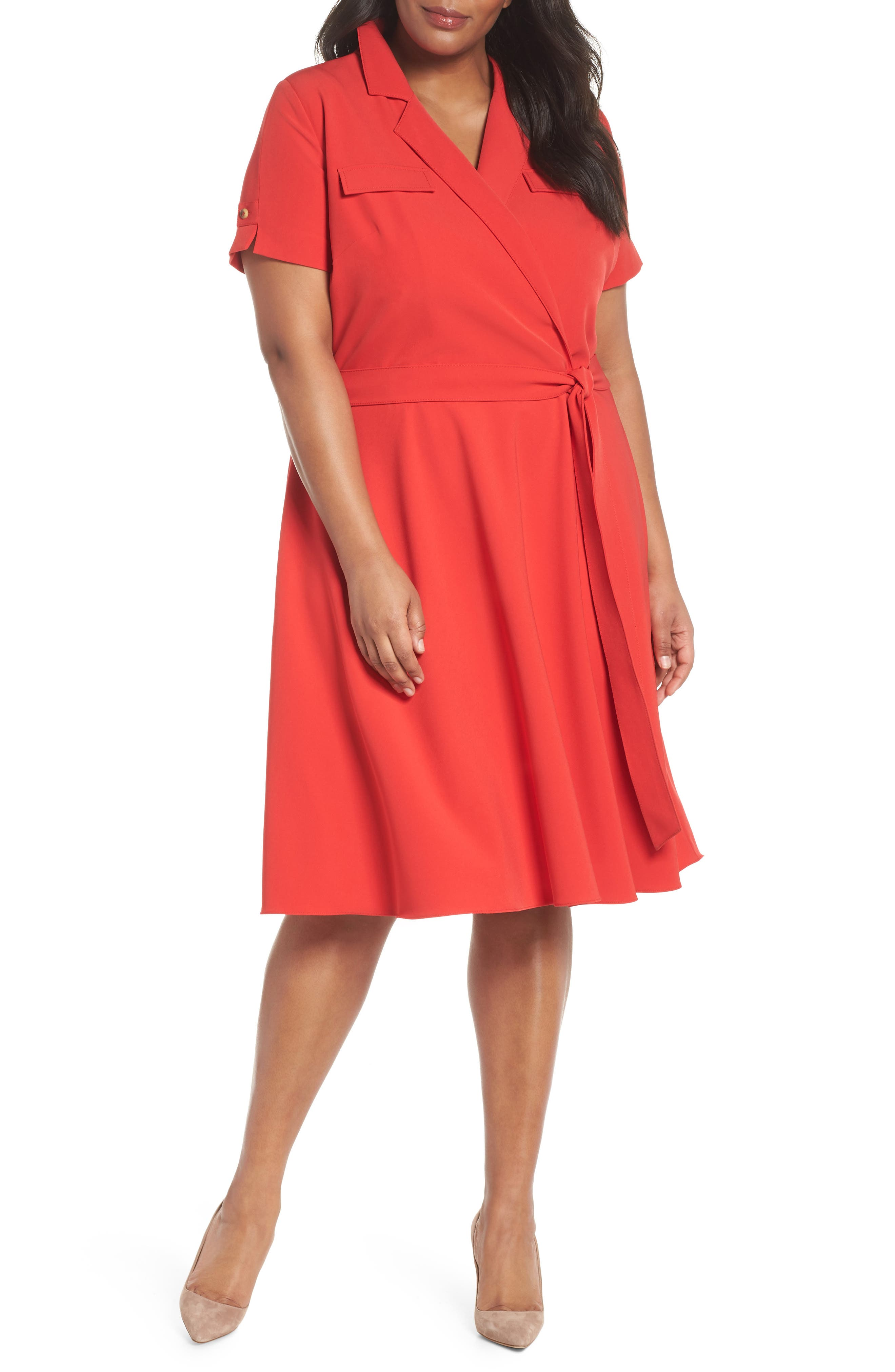 Tahari Tie Waist Shirtdress (Plus Size)