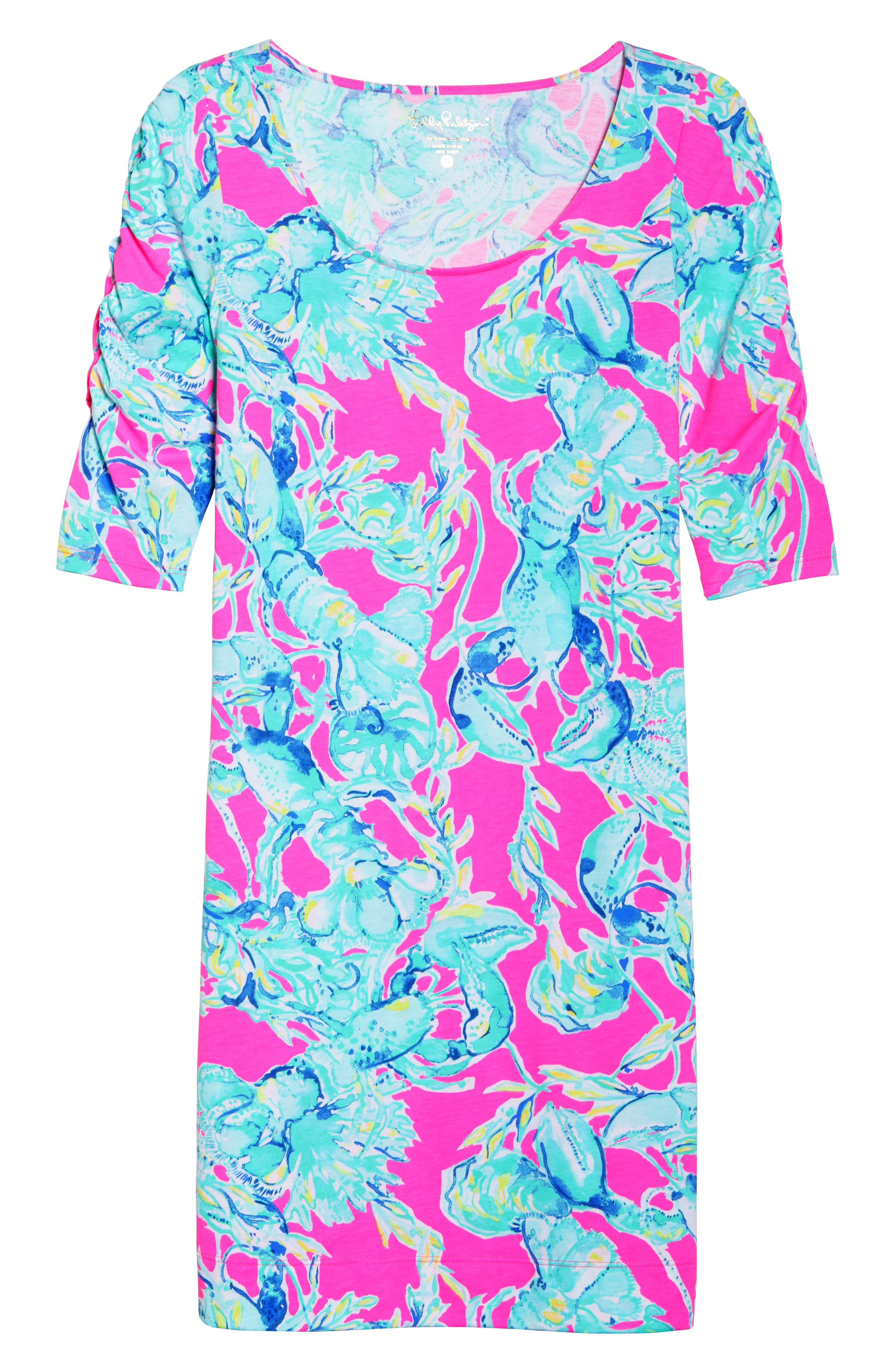 Lajolla T-Shirt Dress,                             Alternate thumbnail 6, color,                             Raz Berry Lobsters In Love