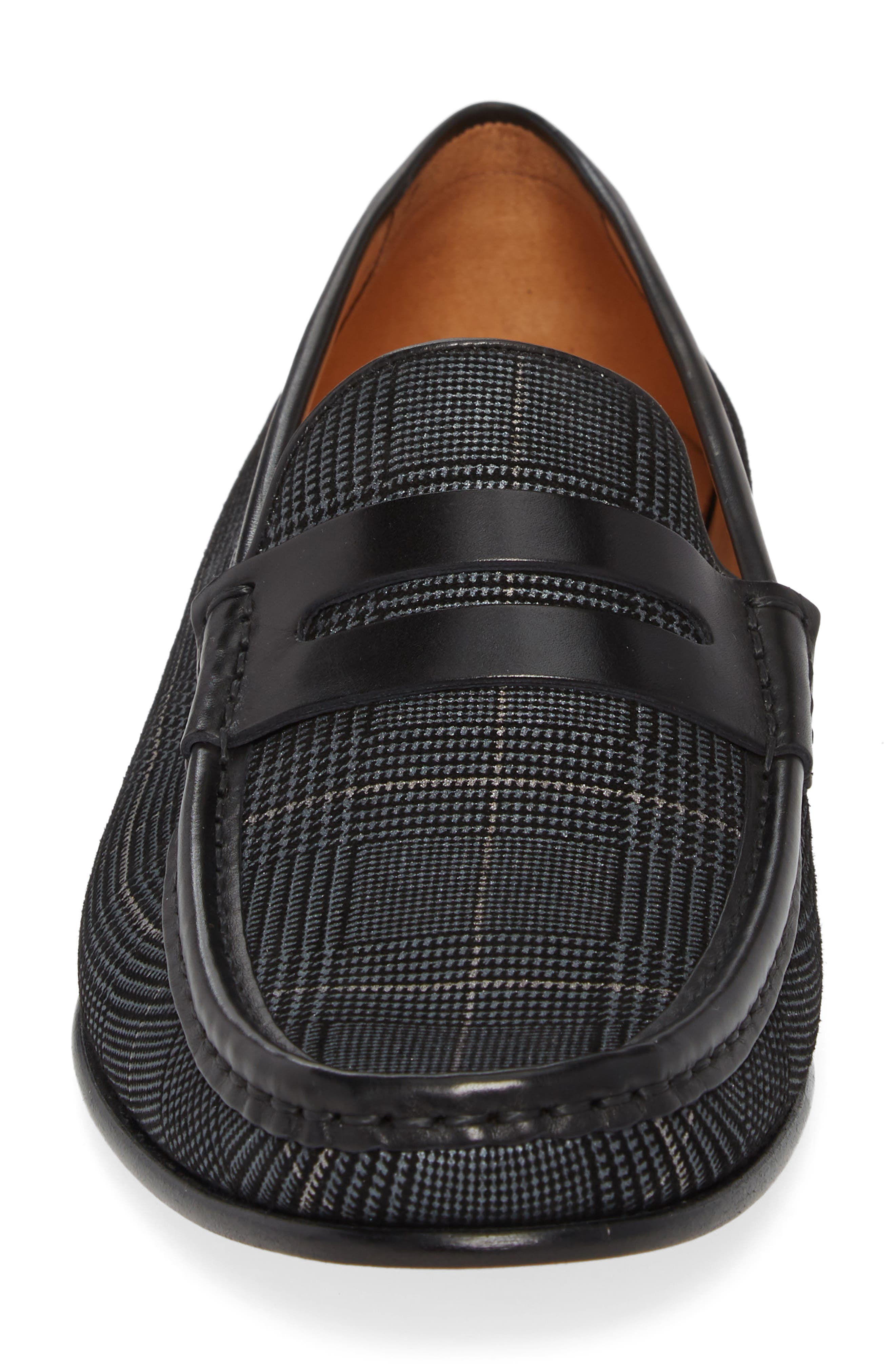 Lares I Houndstooth Penny Loafer,                             Alternate thumbnail 4, color,                             Black Suede/ Leather