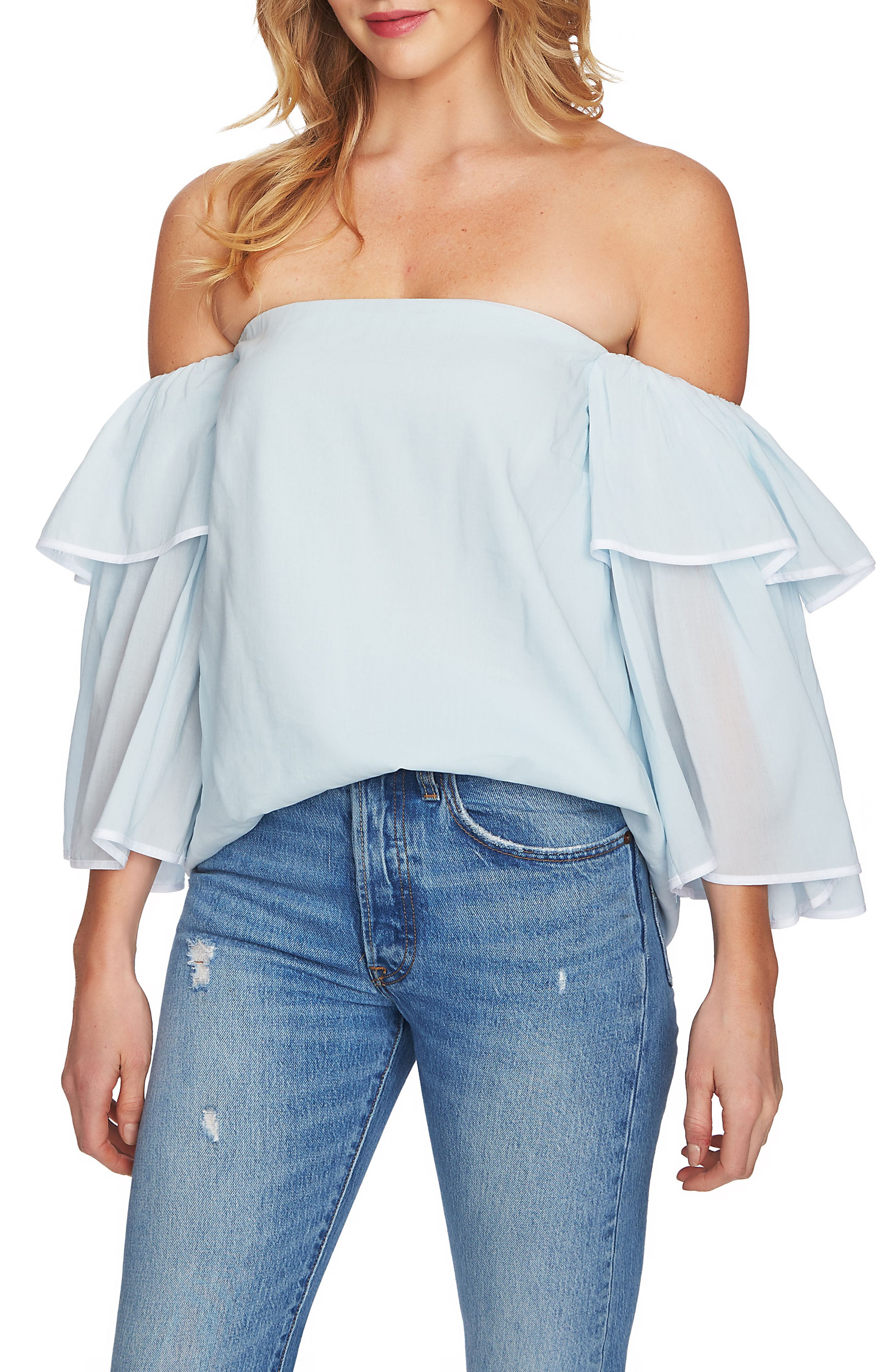 Tiered Sleeve Off the Shoulder Top,                             Main thumbnail 1, color,                             Harbor Light