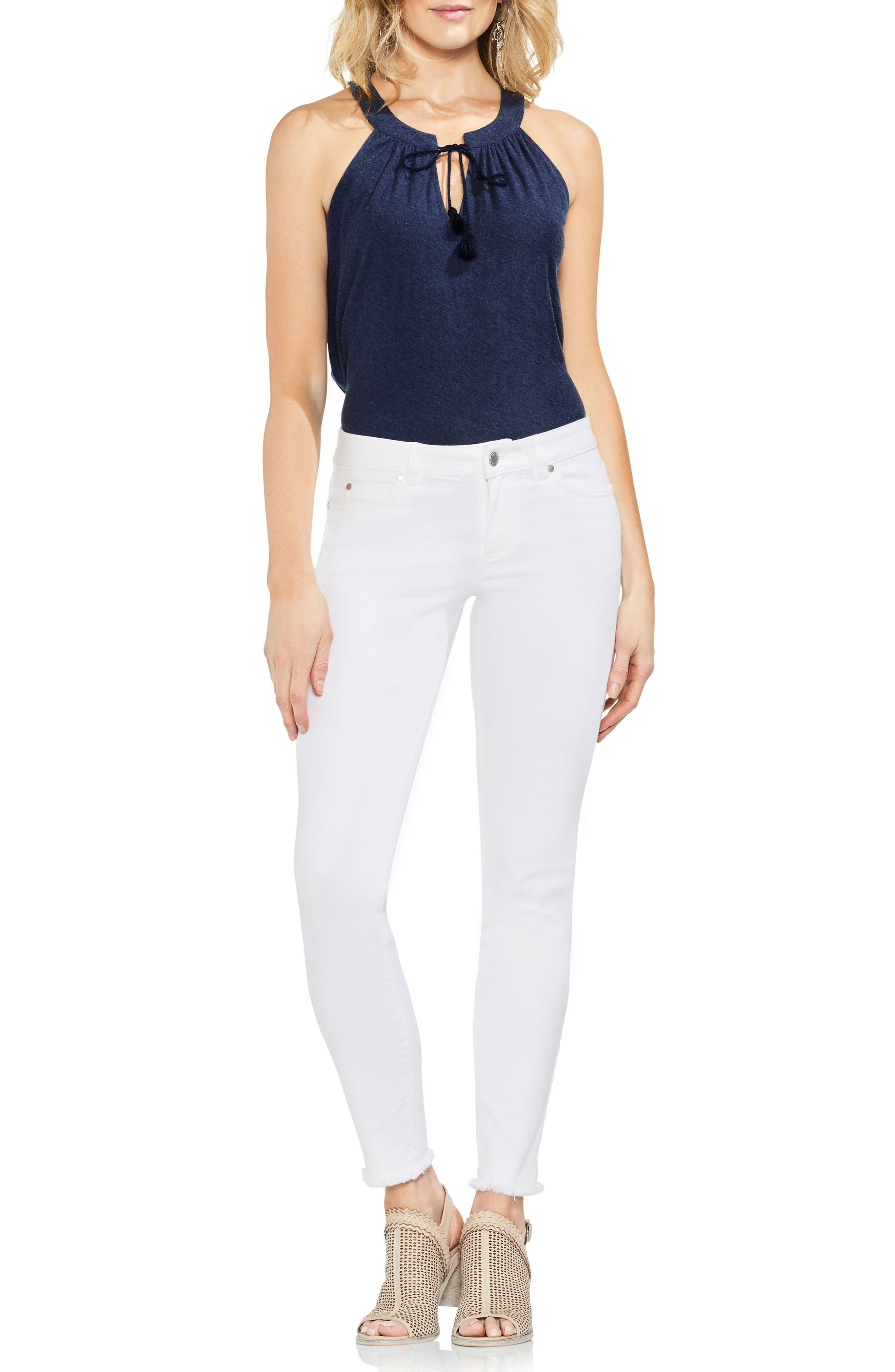 Fray Hem Skinny Jeans,                             Alternate thumbnail 3, color,                             Ultra White