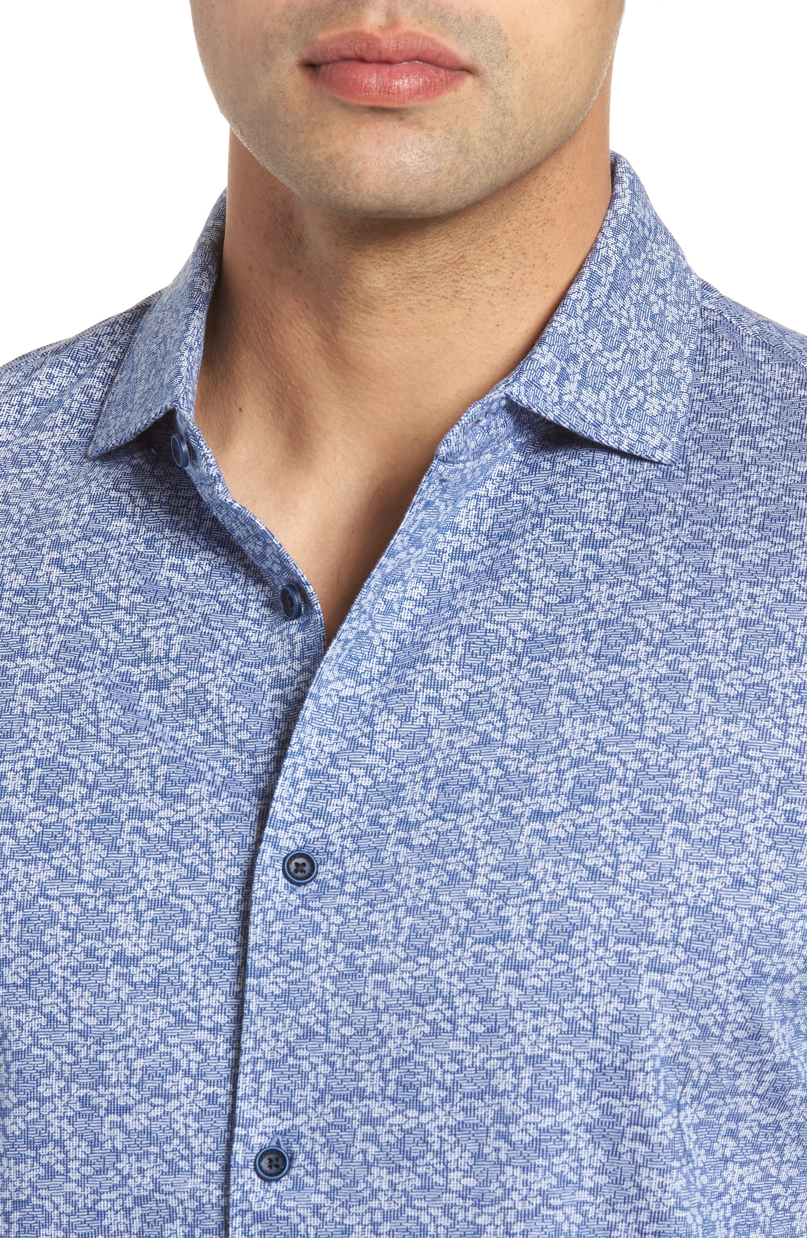 Classic Fit Knit Sport Shirt,                             Alternate thumbnail 4, color,                             Navy