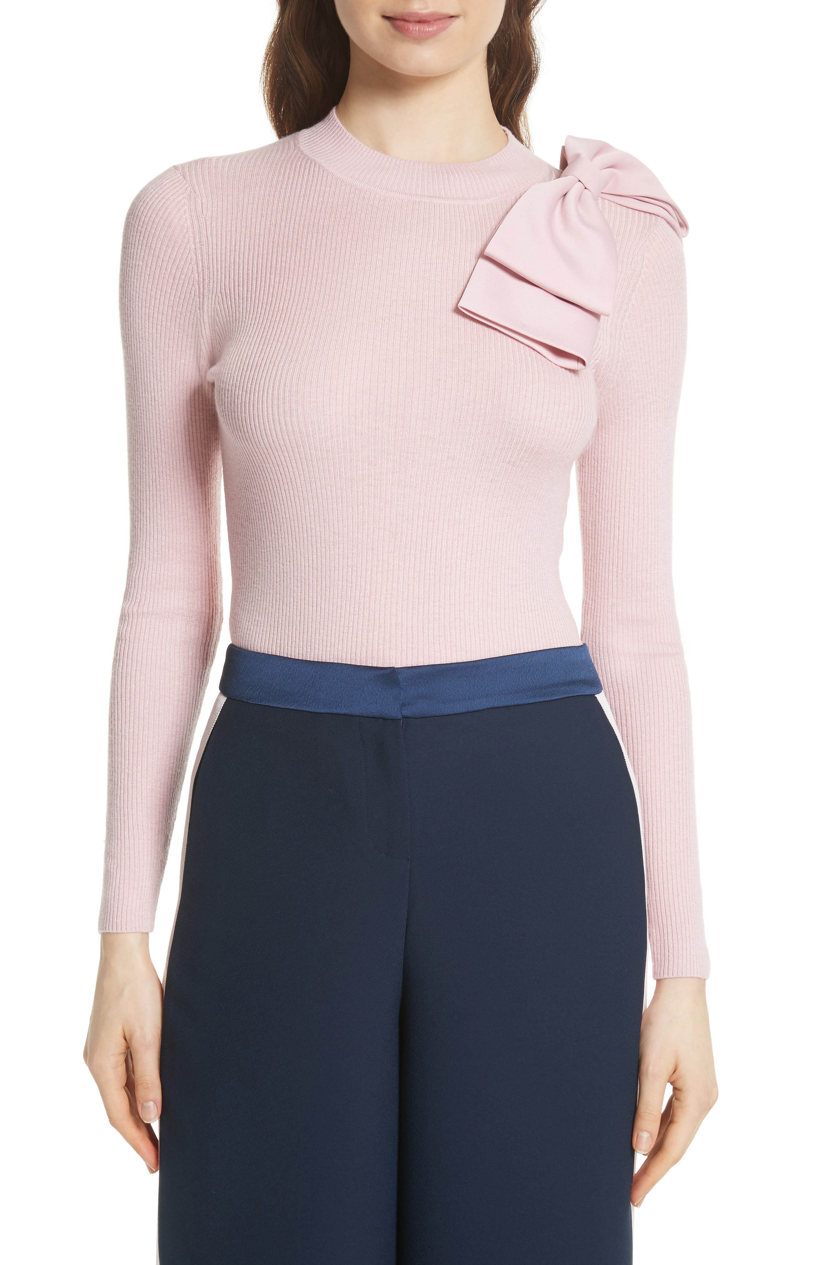 Bow Detail Ribbed Sweater,                             Main thumbnail 1, color,                             Dusky Pink