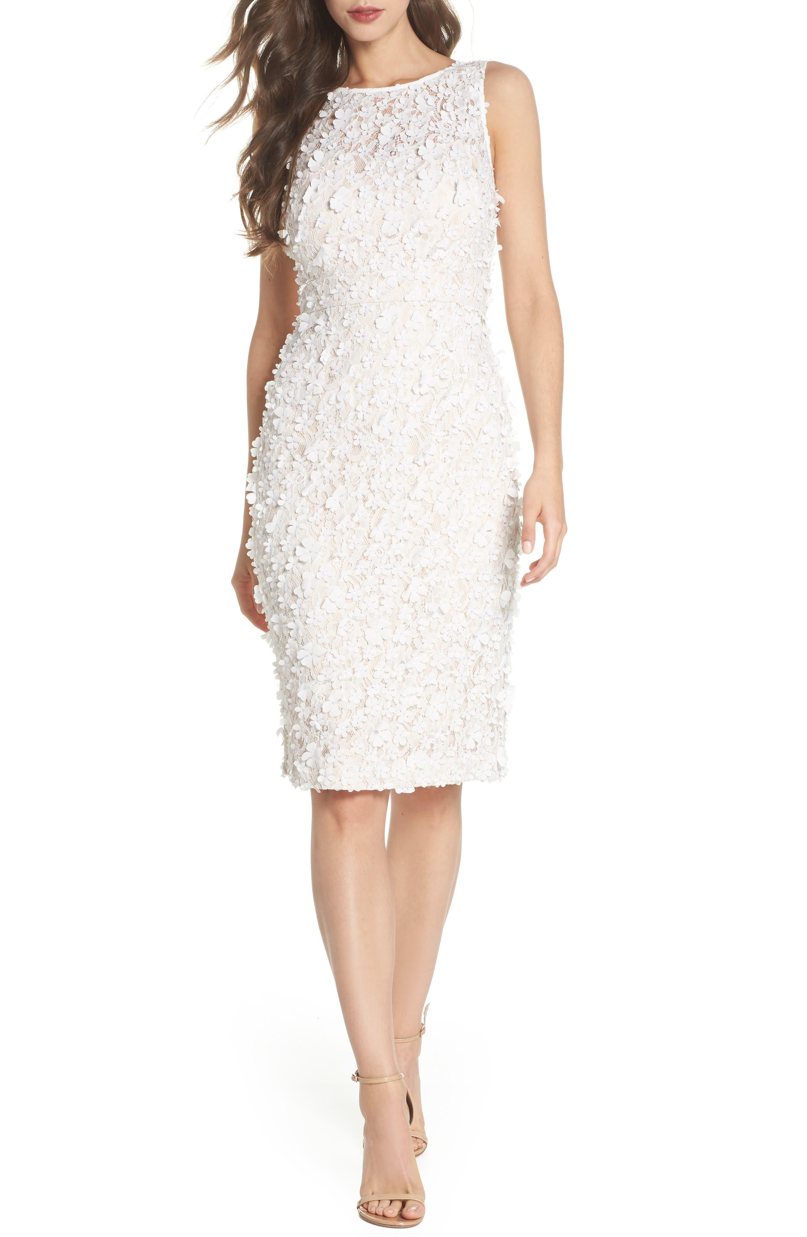 Eliza J Appliqué Lace Sheath Dress