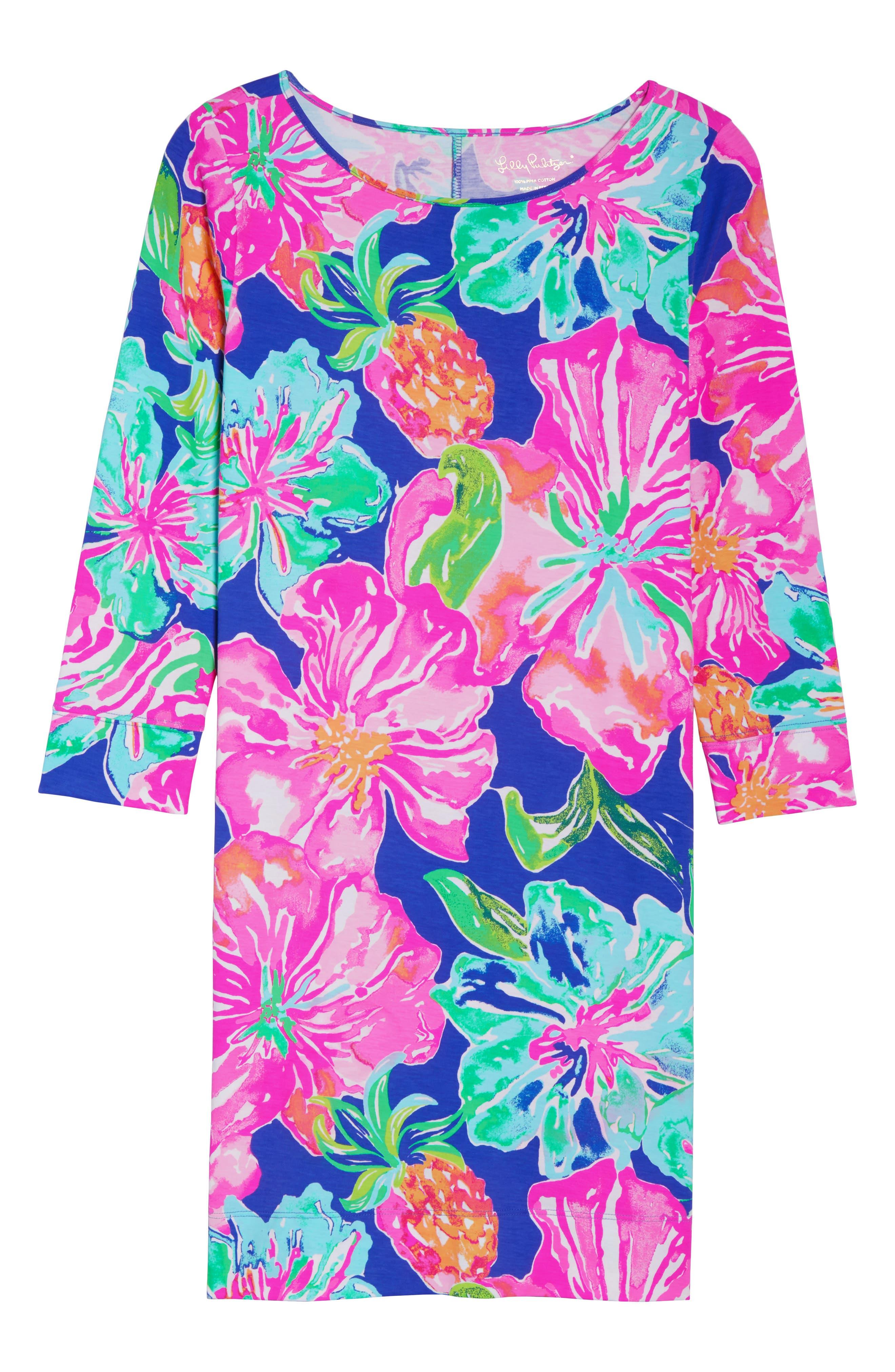 Marlowe Shift Dress,                             Alternate thumbnail 6, color,                             Beckon Blue Jungle Utopia