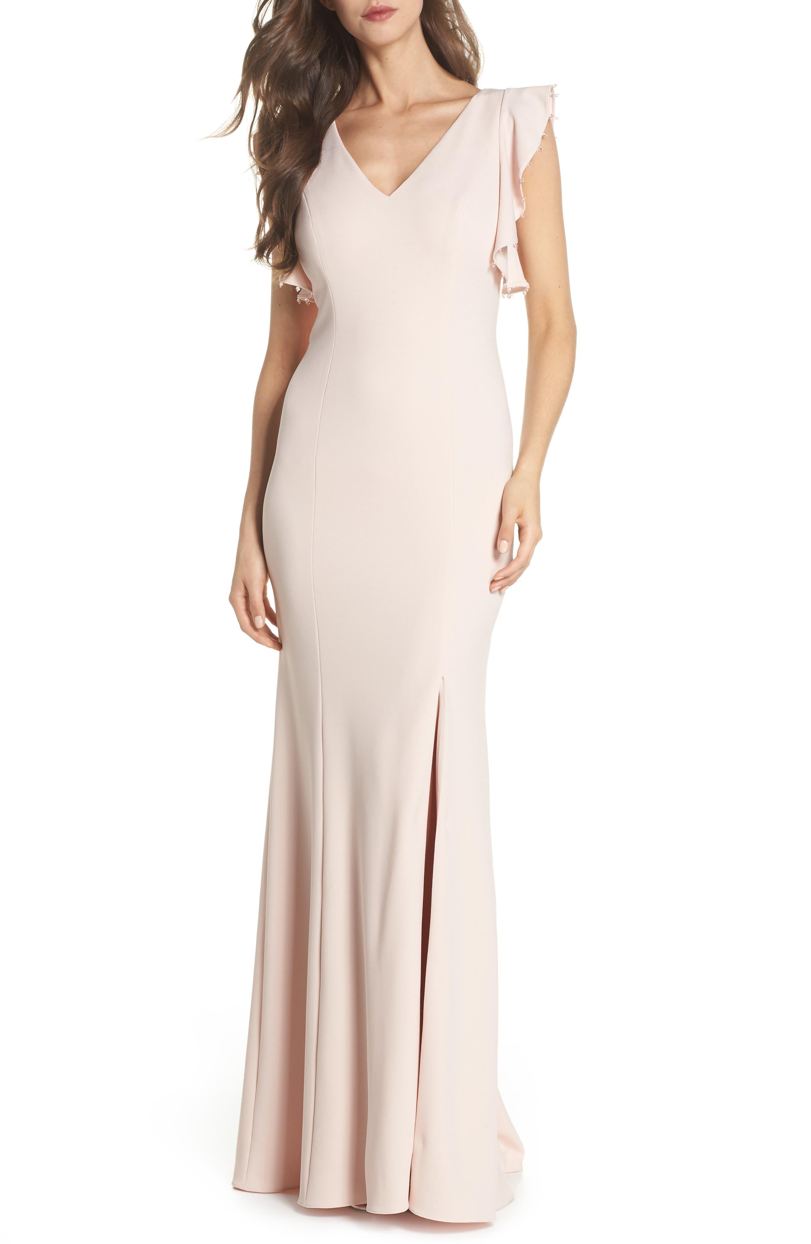 Flutter Sleeve Crepe Trumpet Gown,                         Main,                         color, Light Blush