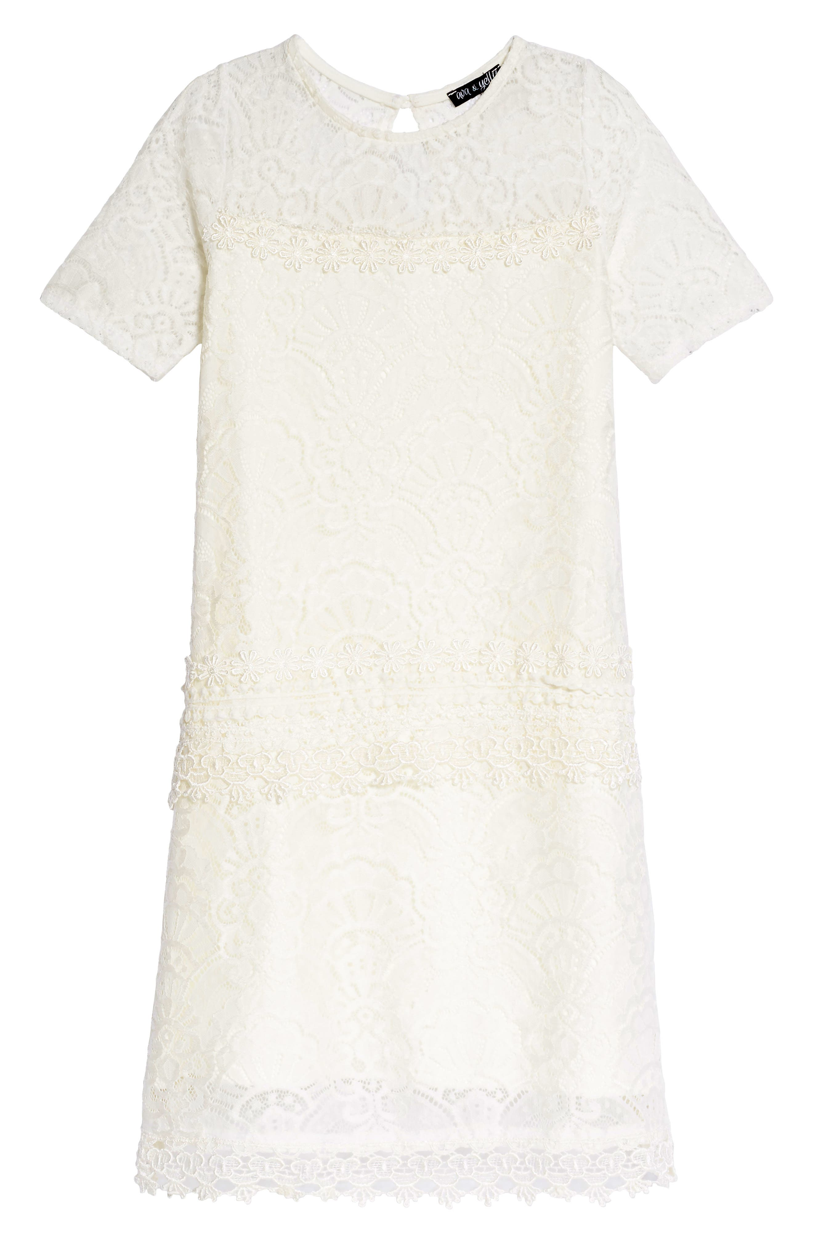 Ava & Yelly Lace Panel Shift Dress (Big Girls)
