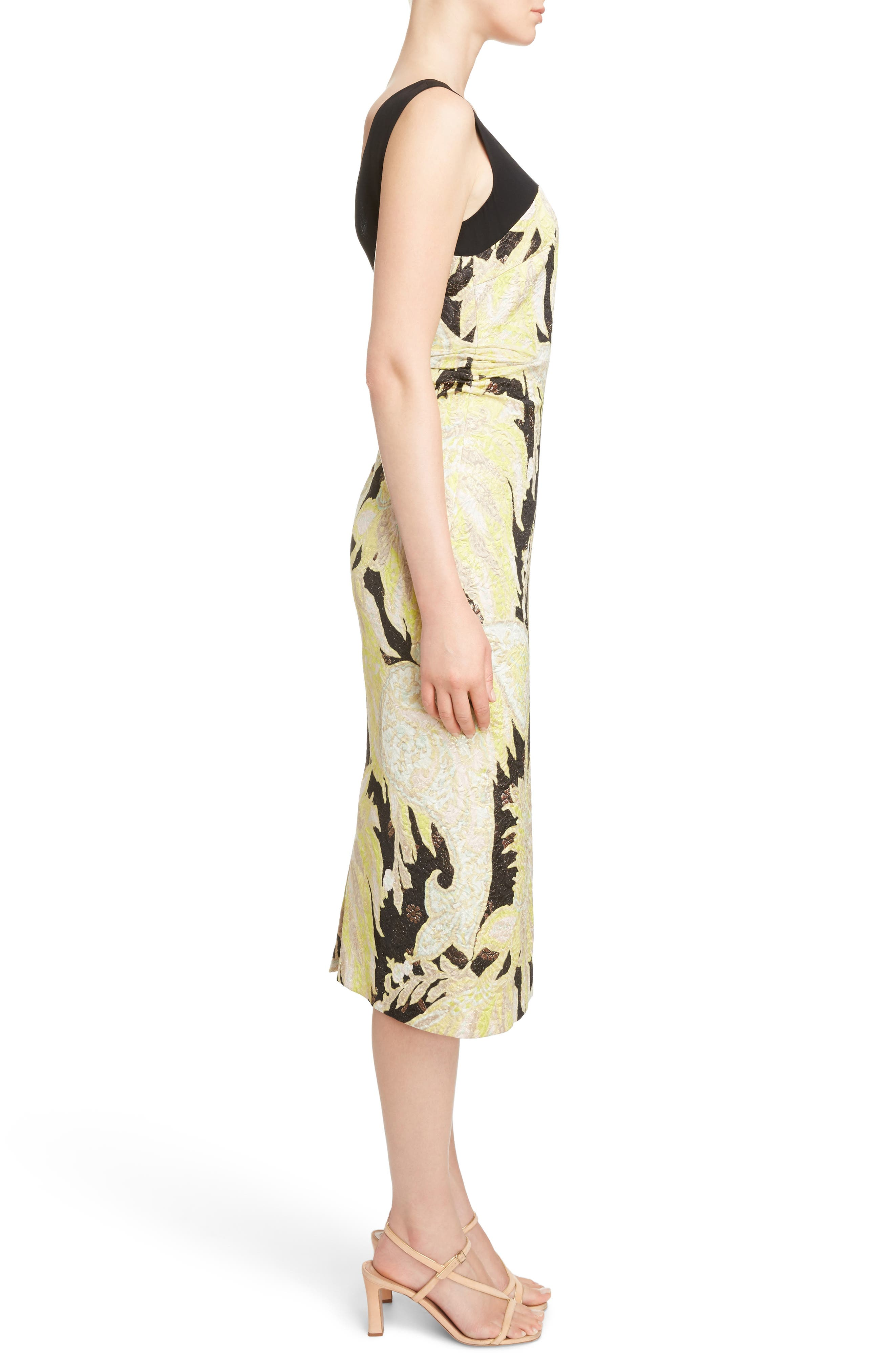 Illusion Paisley Brocade Dress,                             Alternate thumbnail 3, color,                             Black