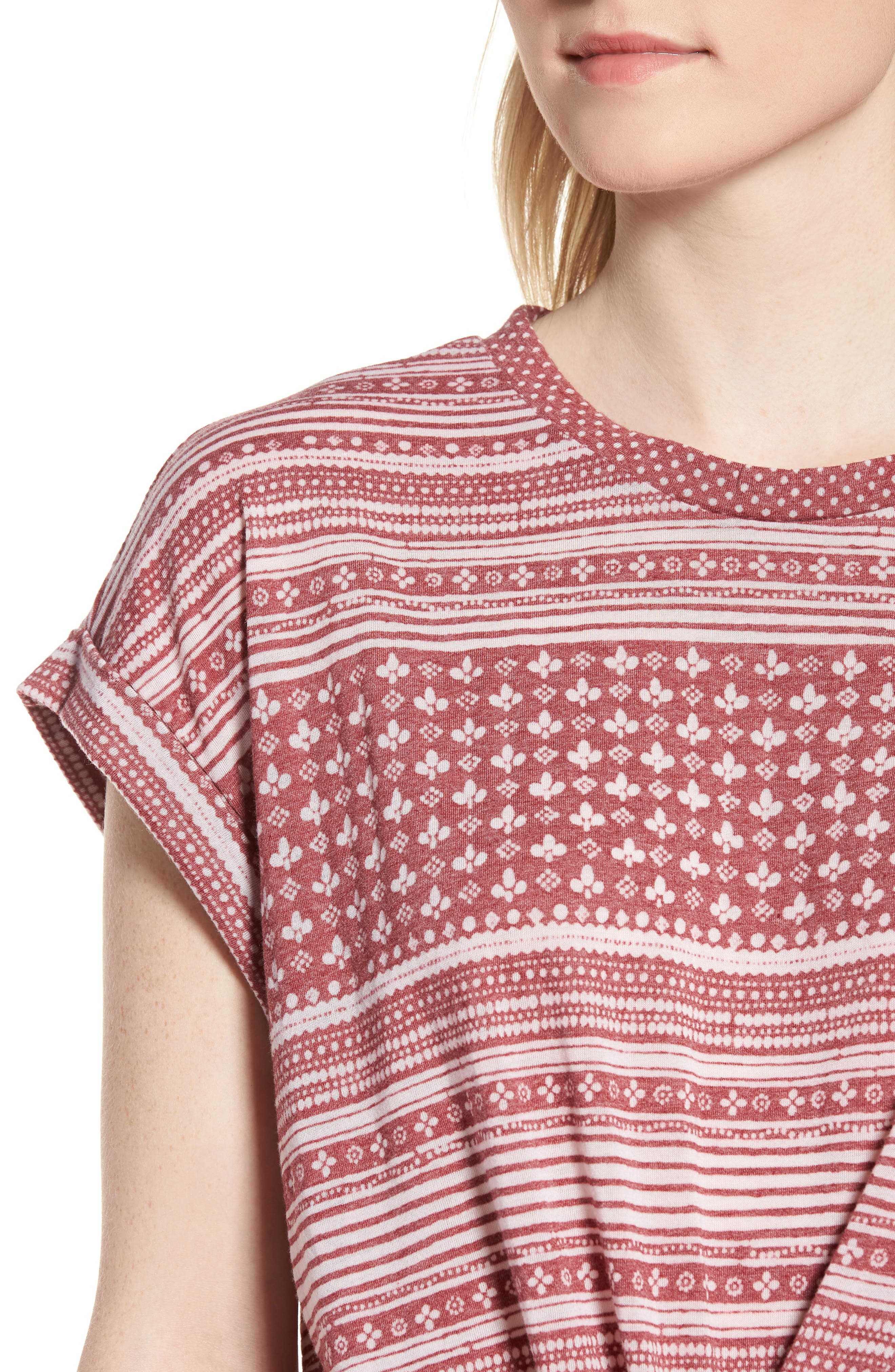 Twist Front Print Tee,                             Alternate thumbnail 4, color,                             Earth Red