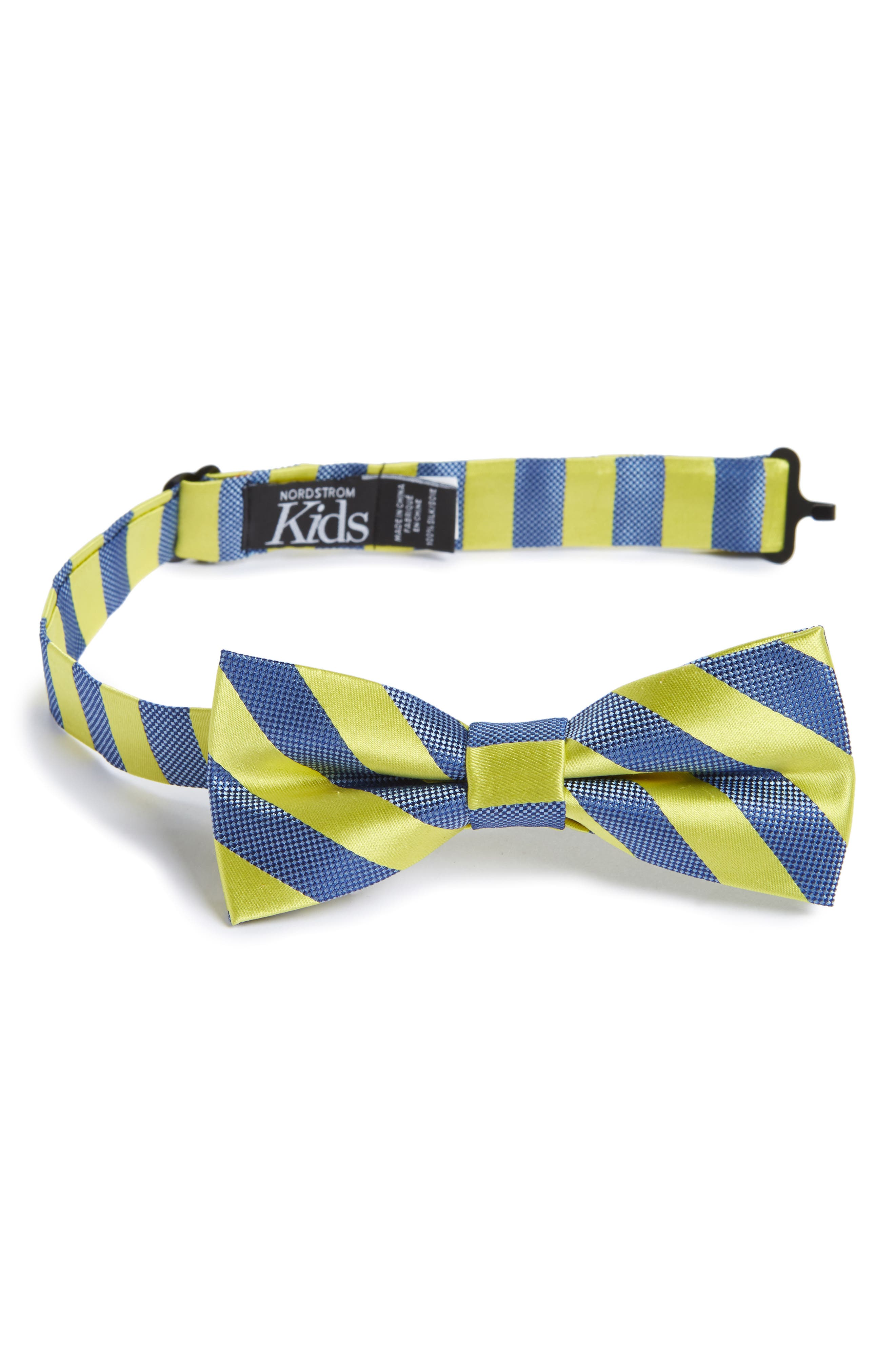 Stripe Silk Bow Tie,                             Main thumbnail 1, color,                             Bright Yellow