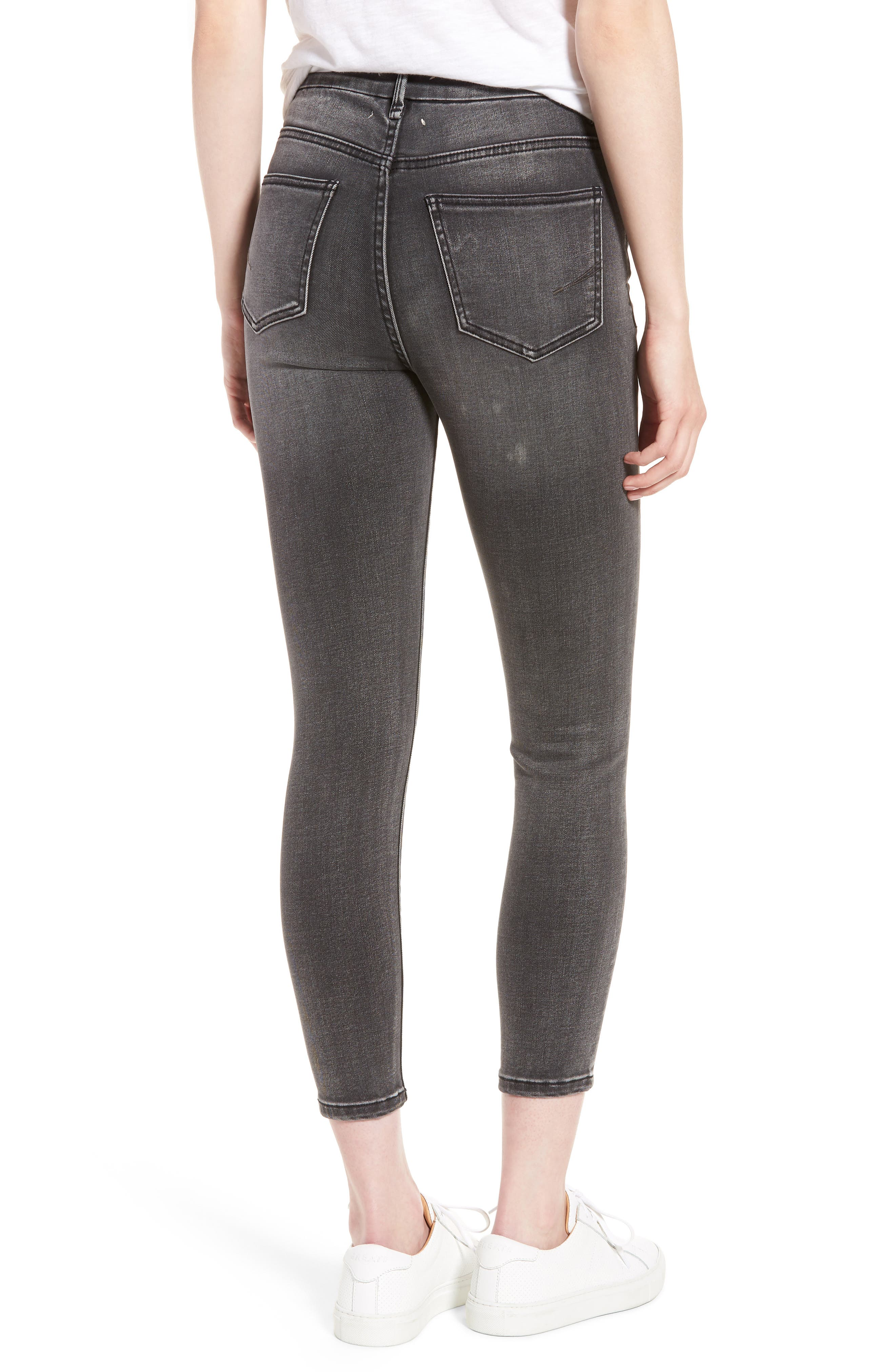 Cressa High Rise Ankle Skinny Jeans,                             Alternate thumbnail 2, color,                             Obsidian