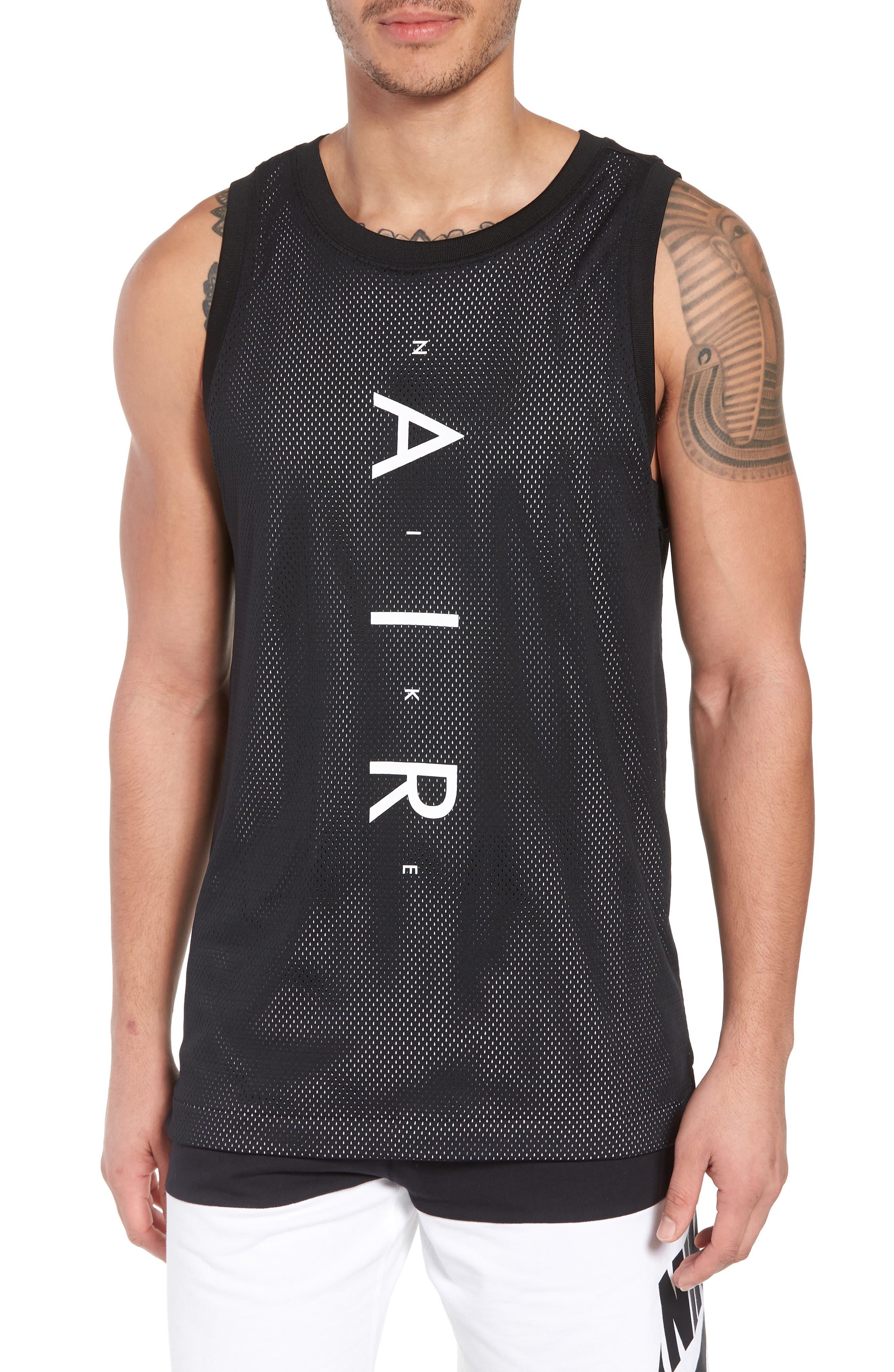 Sportswear Air Knit Tank,                             Main thumbnail 1, color,                             Black/ White