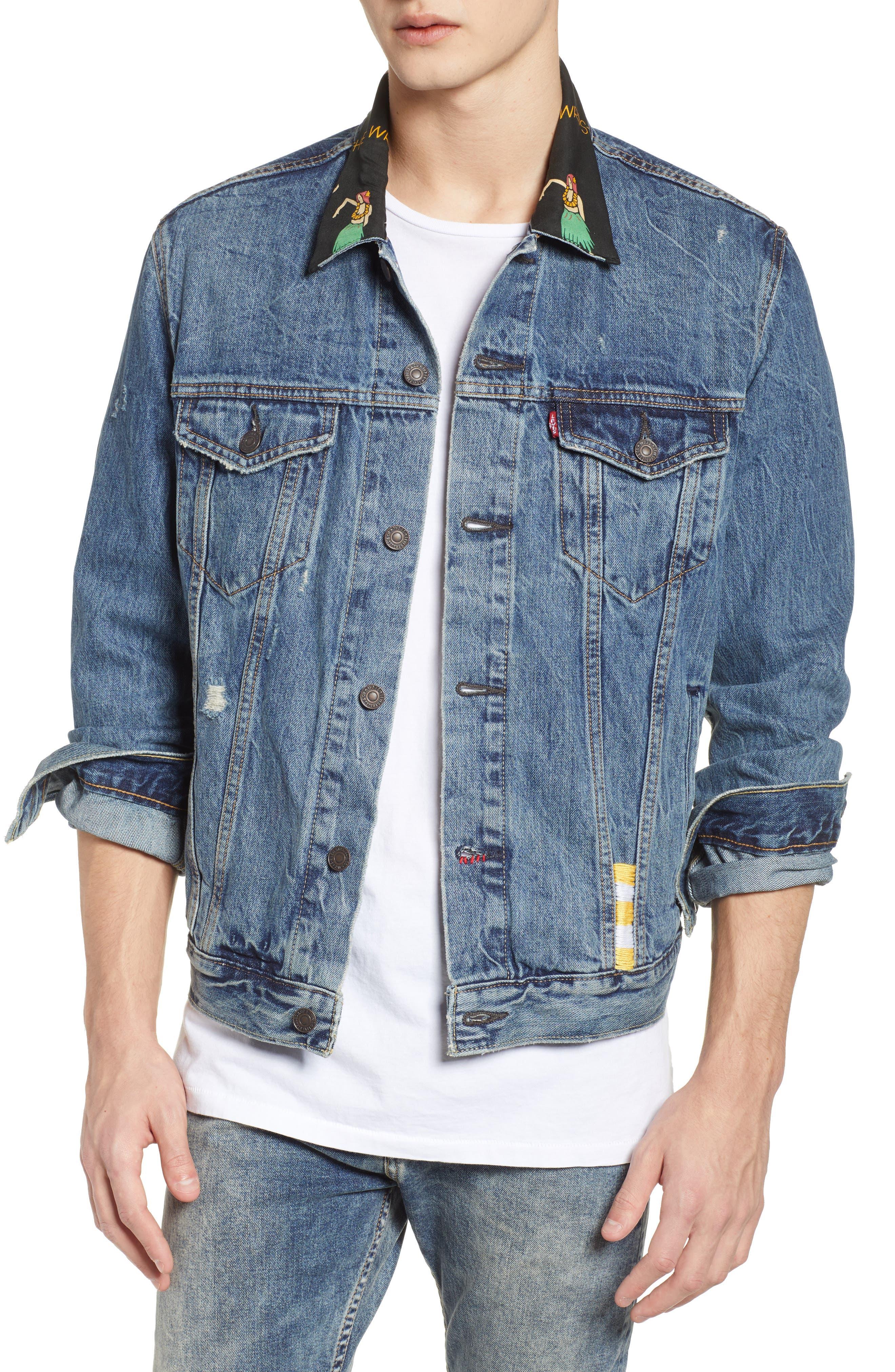 Denim Trucker Jacket,                         Main,                         color, Hula Collar
